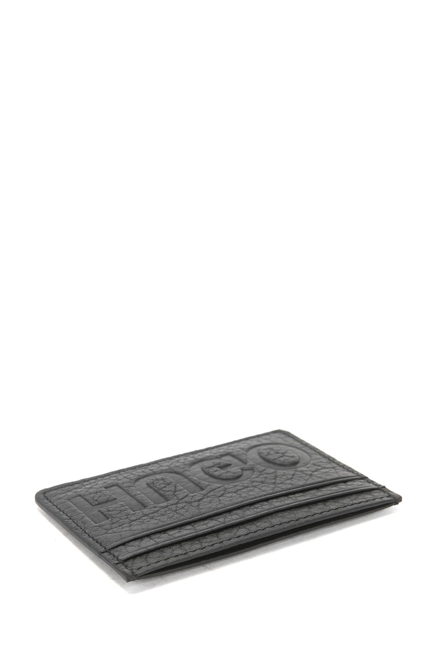 Reverse-logo card holder in grained leather