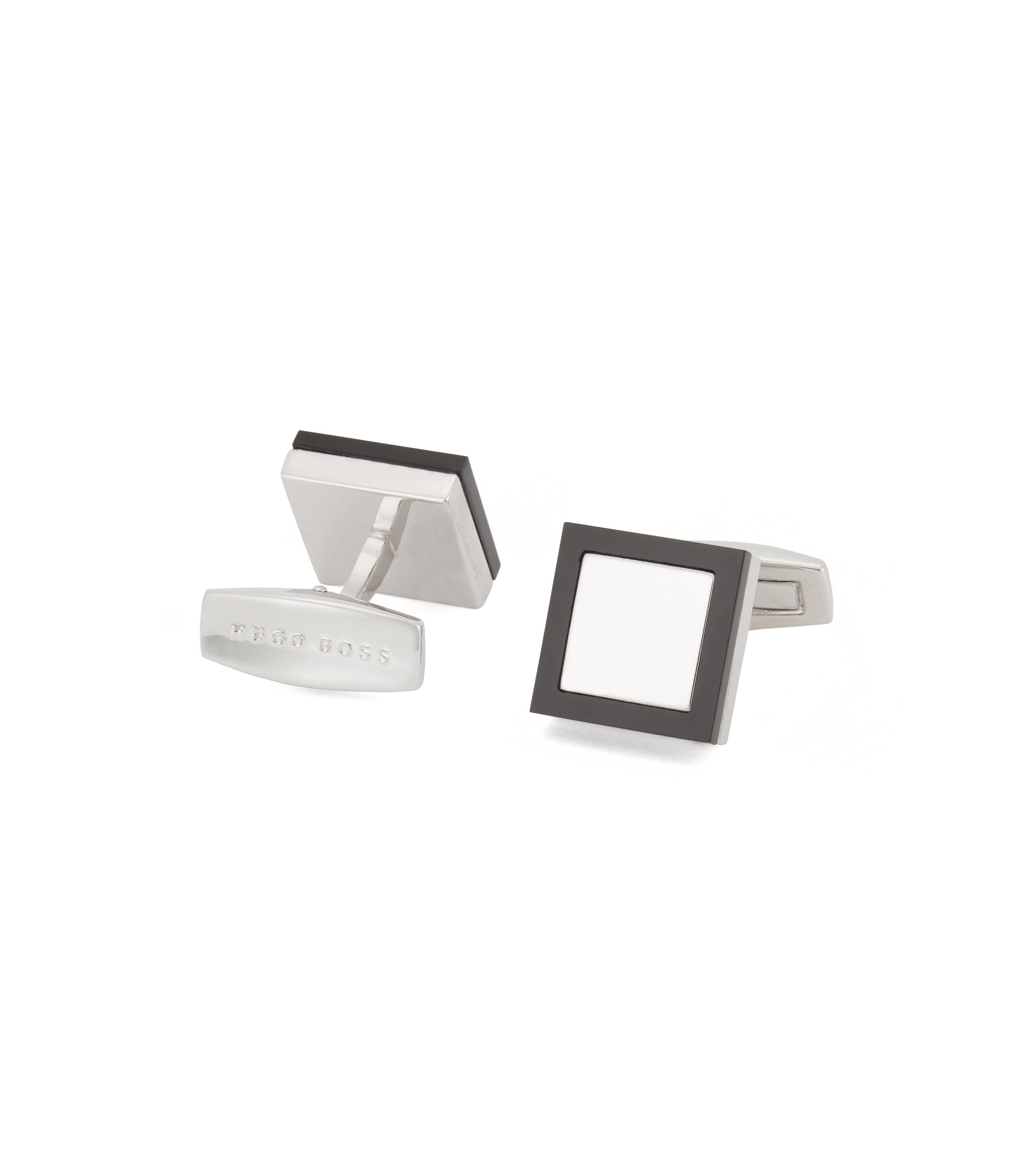 Square cufflinks with black onyx frame, Black
