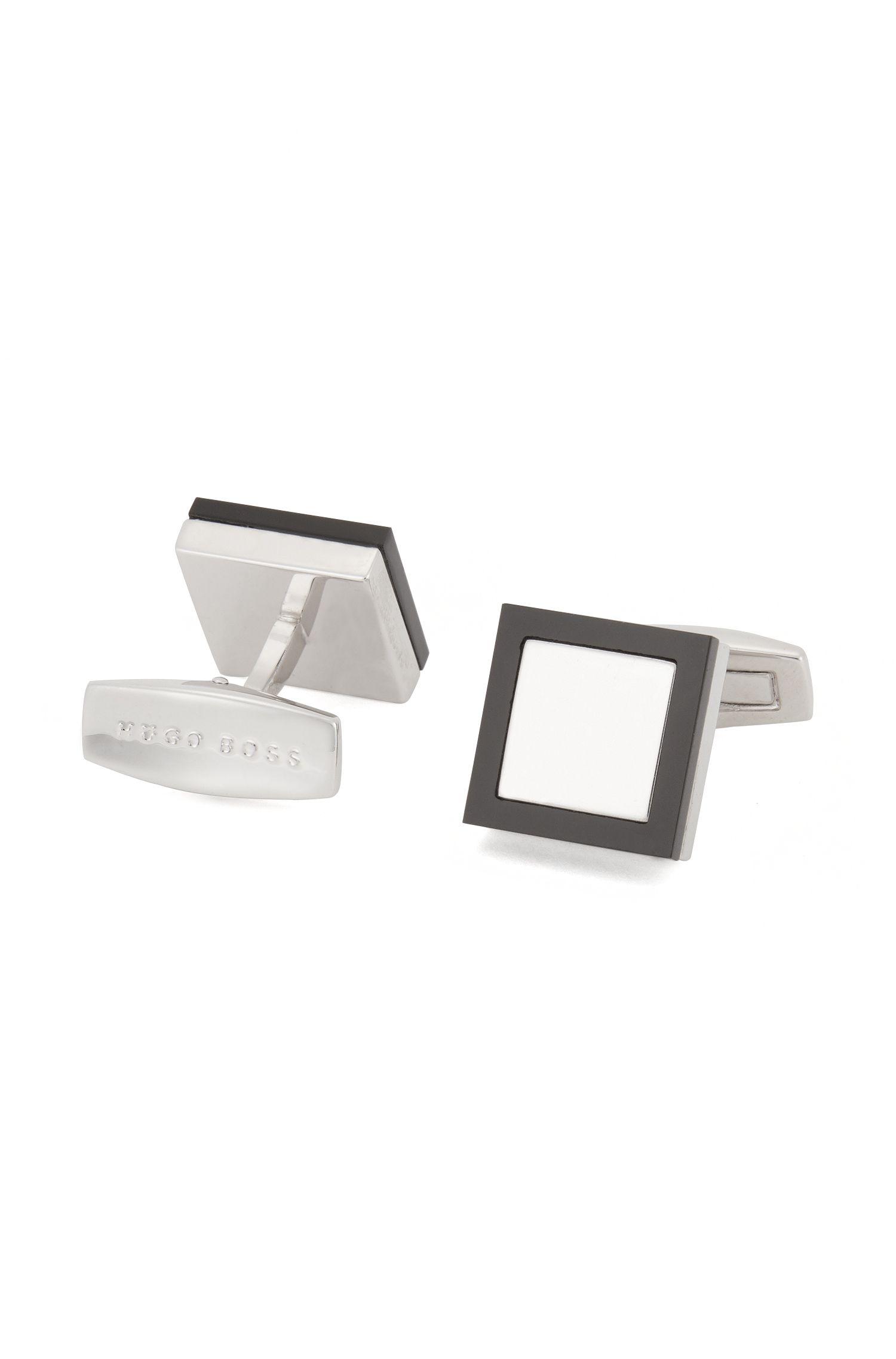 Quadratische Manschettenknöpfe aus Messing mit Onyx-Einfassung