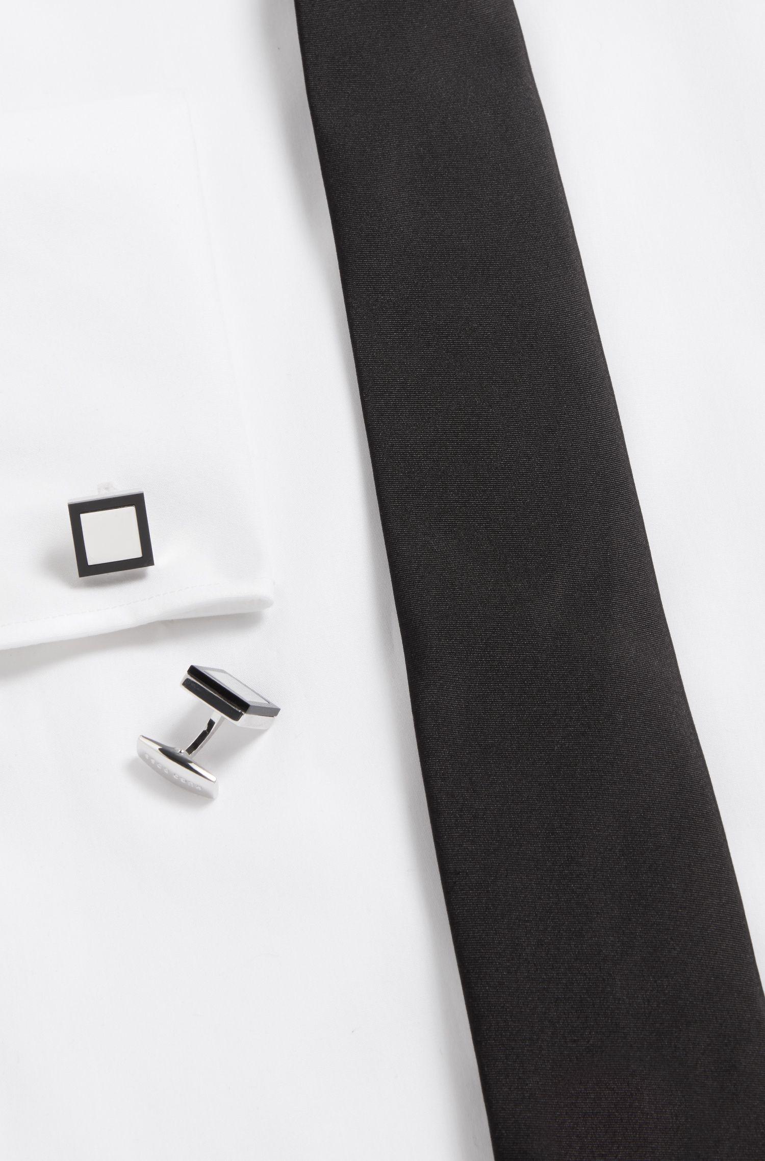 Vierkante manchetknopen met kader van zwart onyx