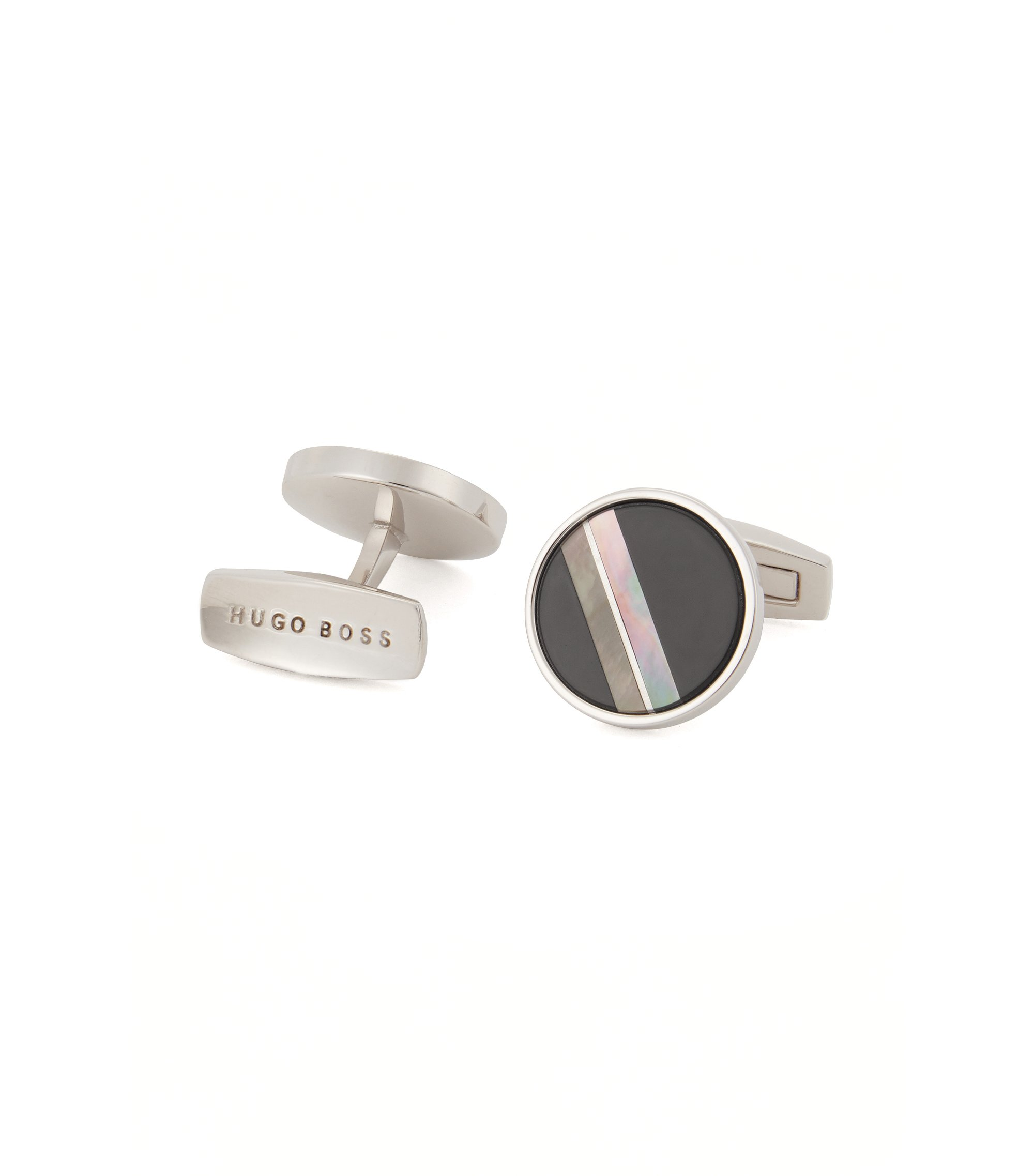 Round cufflinks with mother-of-pearl and black onyx, Black