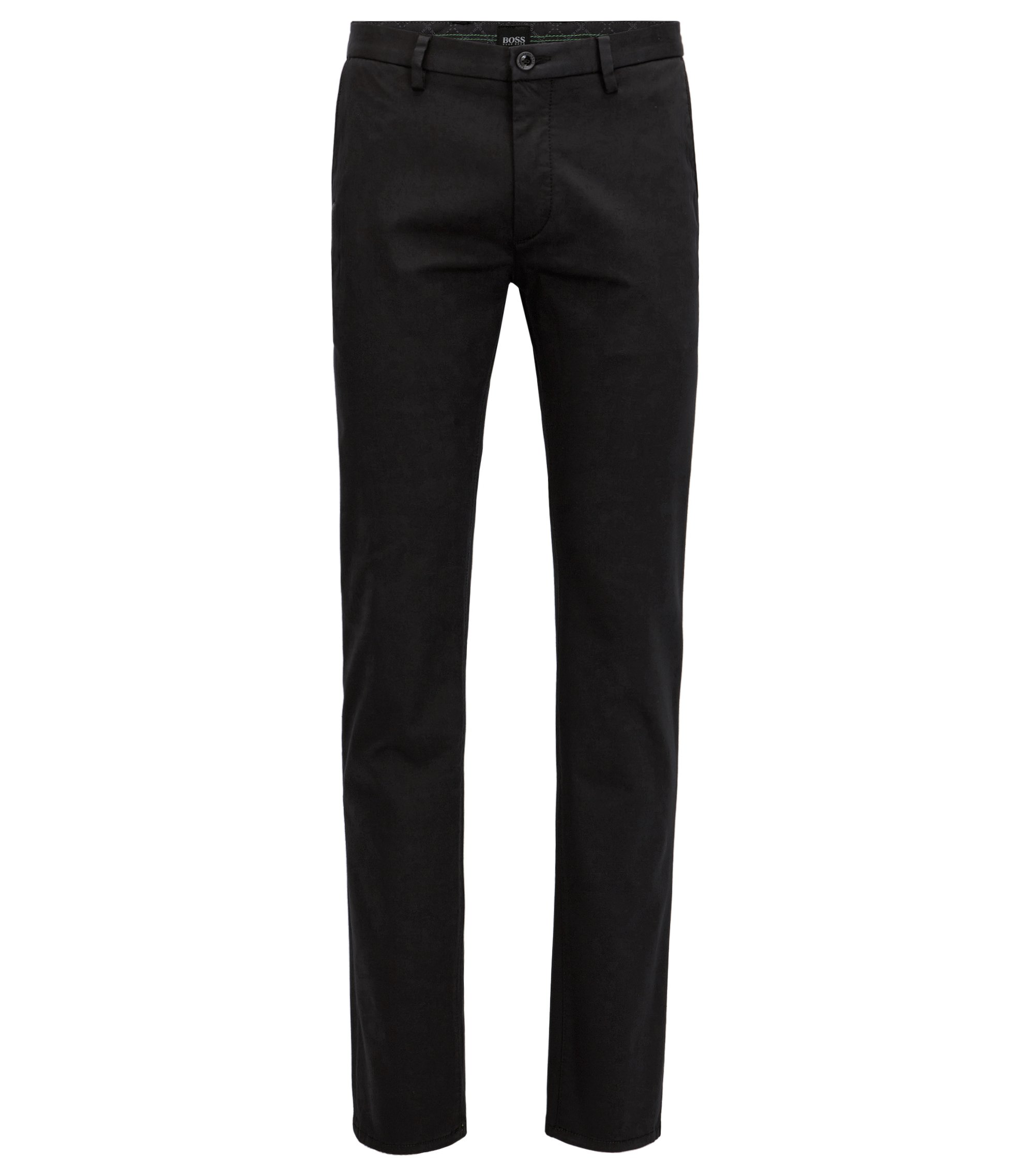 Slim-fit chinos in stretch satin, Black