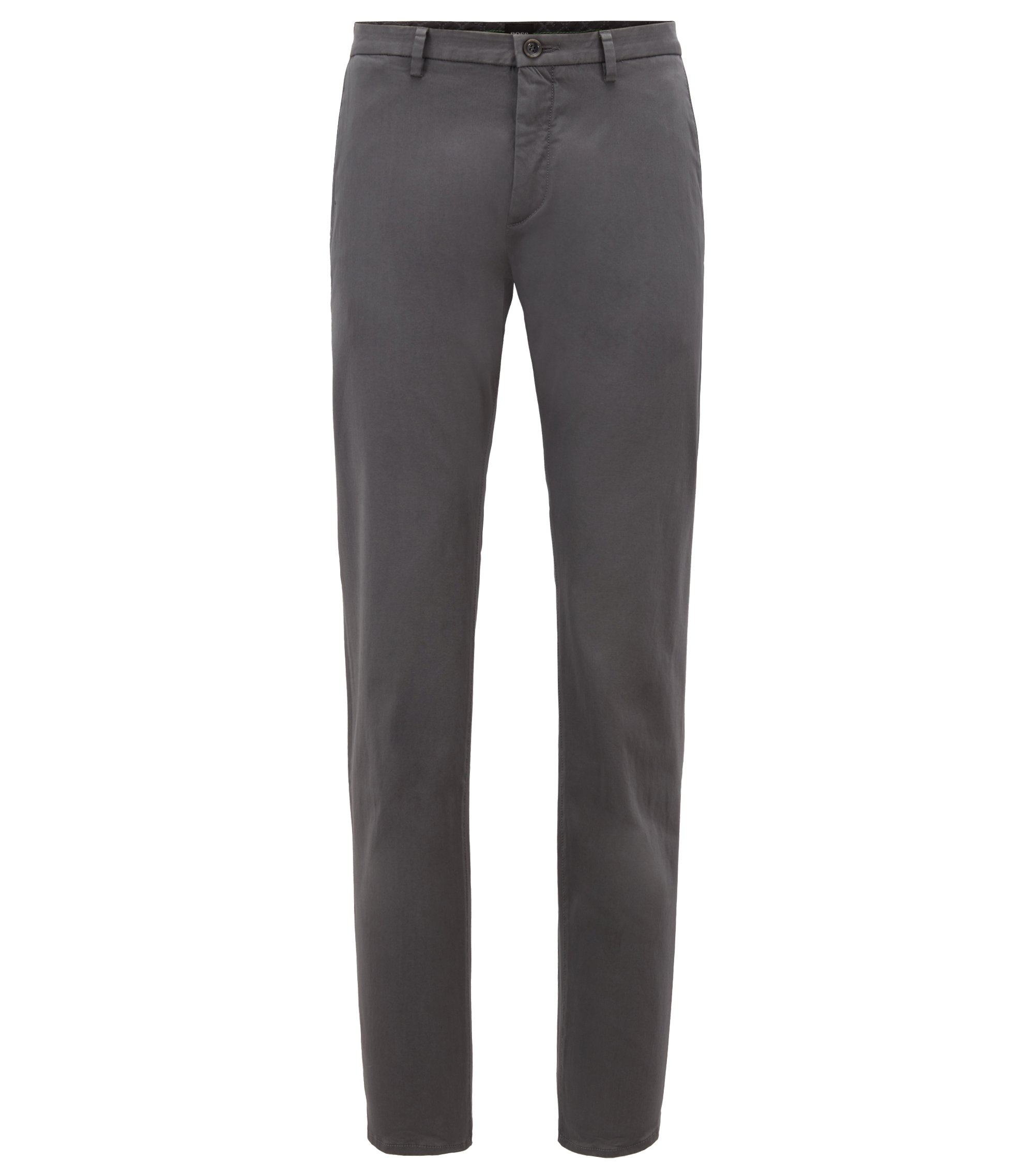 Chino Slim Fit en satin stretch, Anthracite