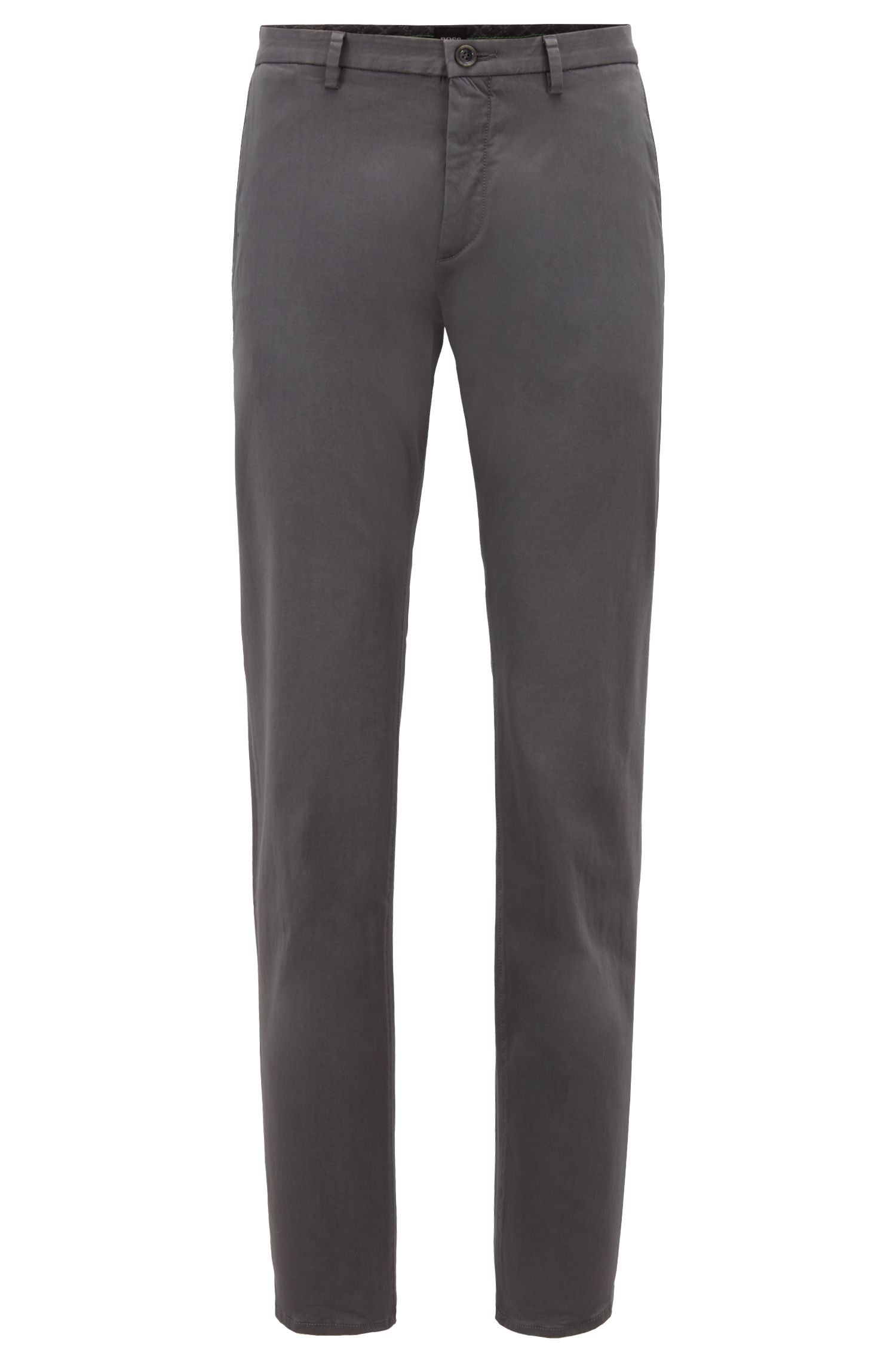 Slim-Fit Chino aus Stretch-Satin, Anthrazit