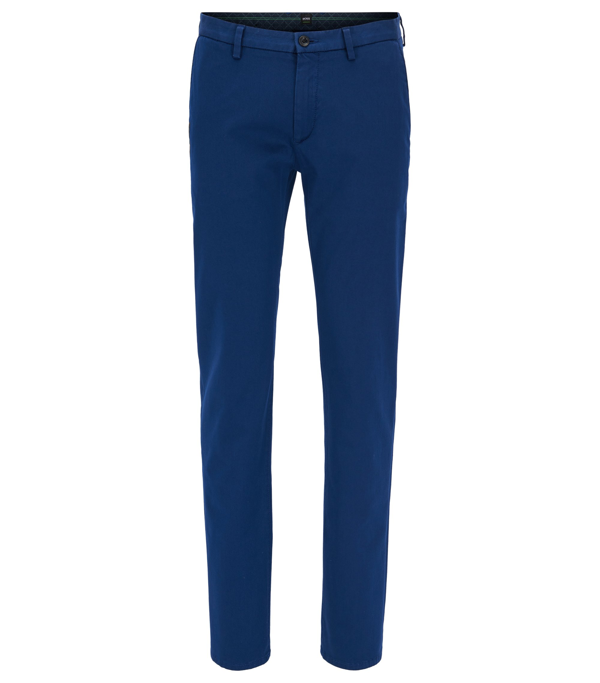 Slim-fit chinos in stretch satin, Blue