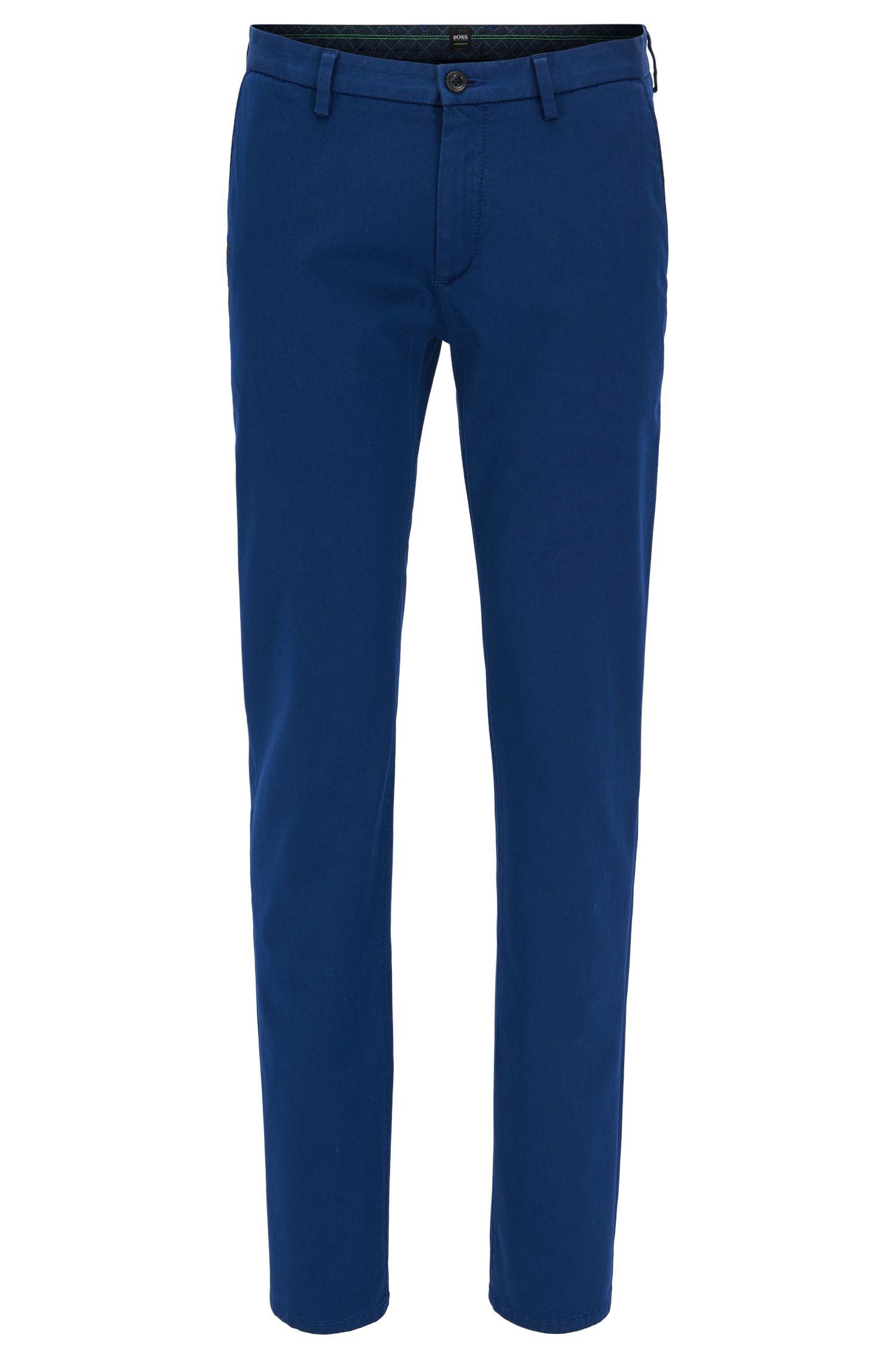 Chino slim fit in satin elasticizzato, Blu