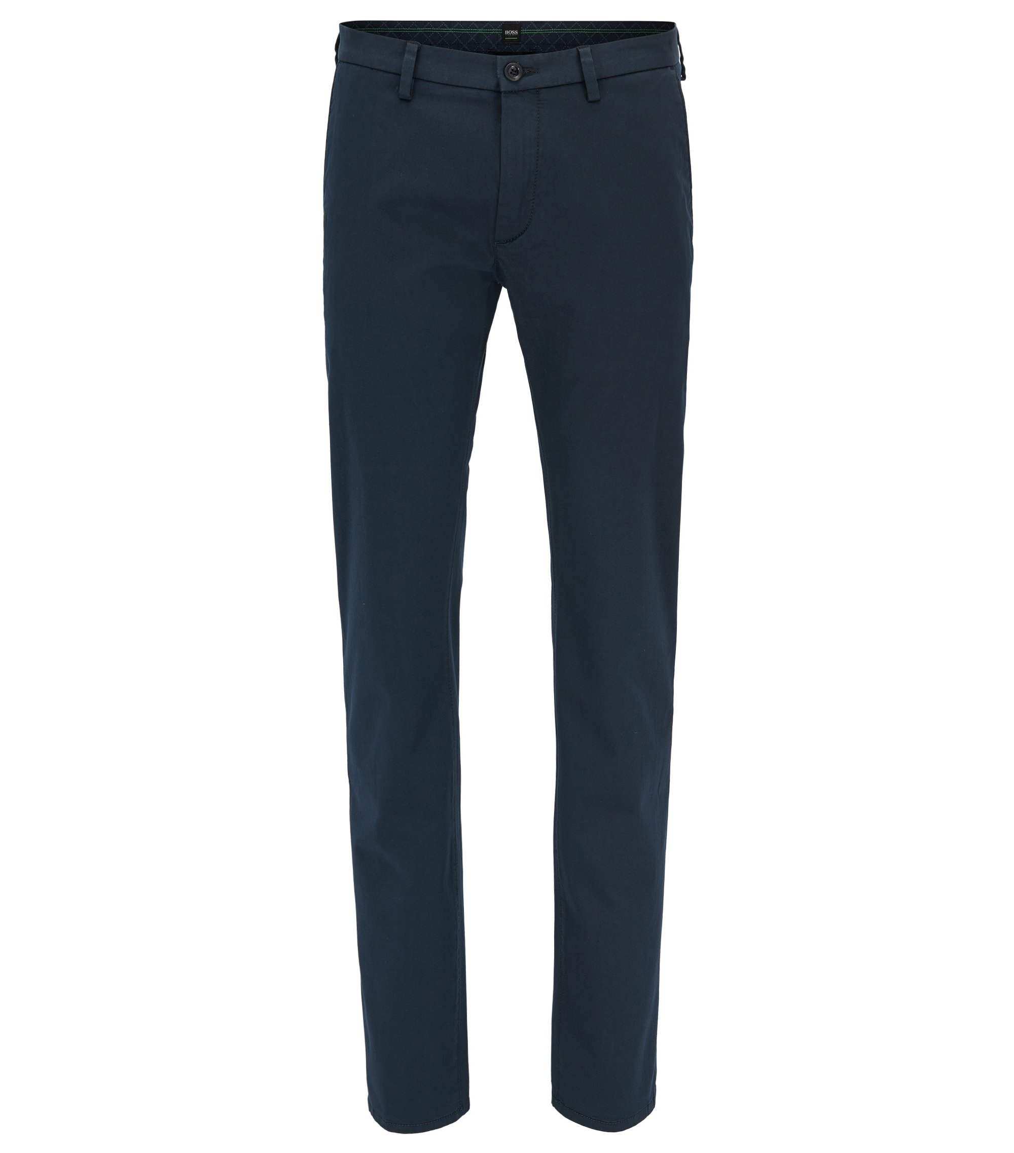 Slim-fit chinos in stretch satin, Dark Blue