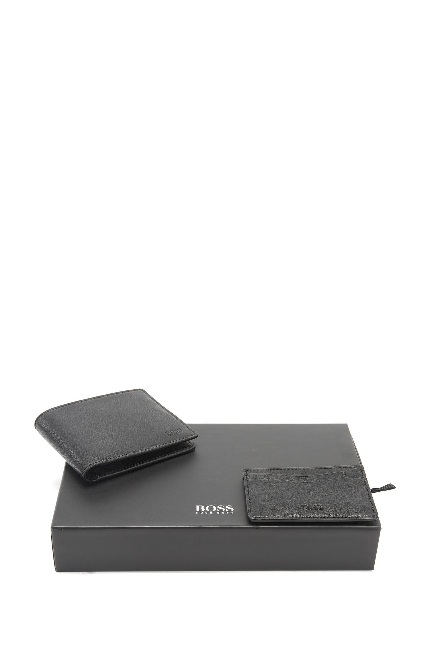 Coffret cadeau portefeuille à deux volets et porte-cartes en cuir aux détails contrastants