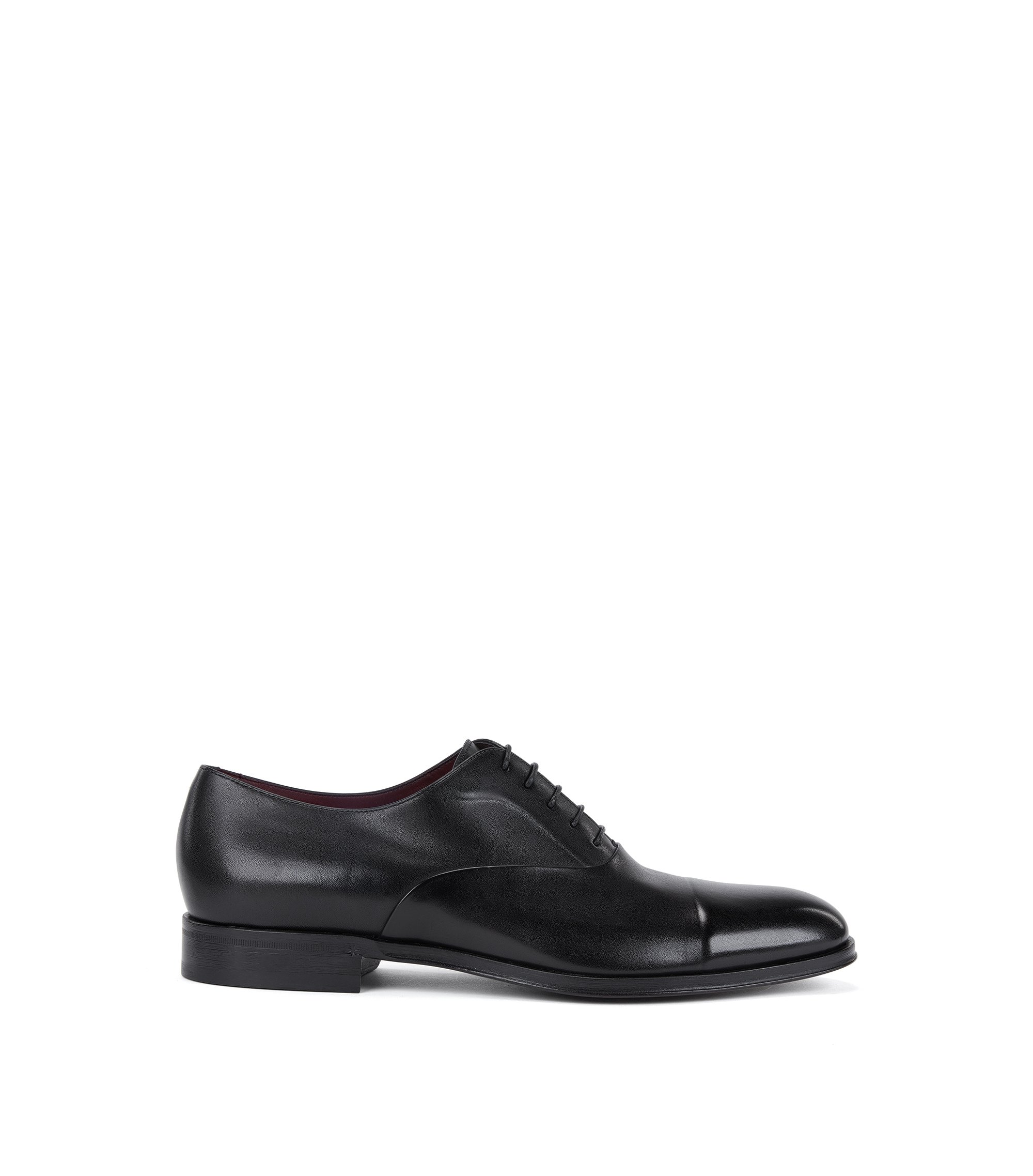 Scarpe Oxford in pelle di vitello brunita, Nero