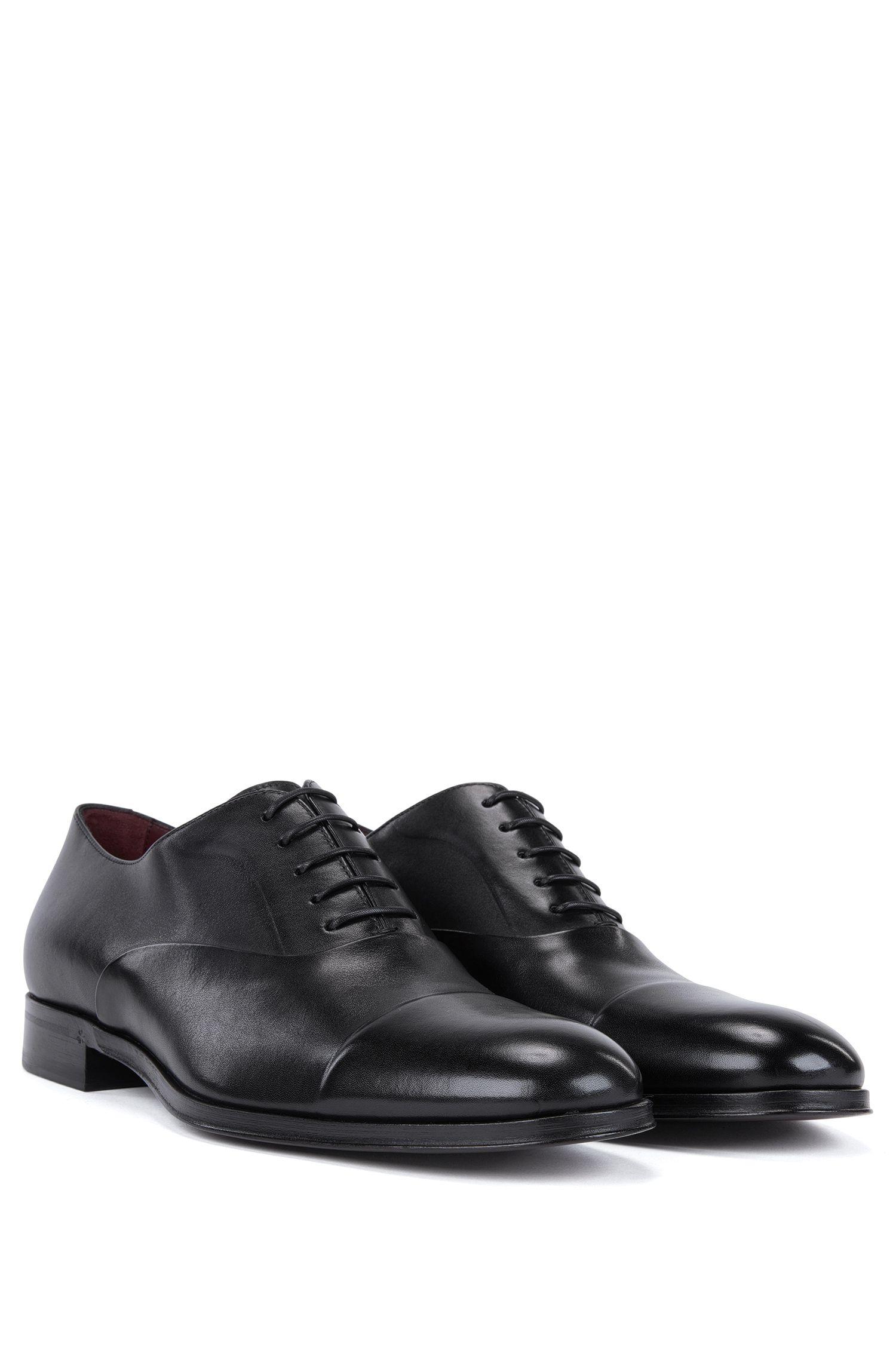 Chaussures Oxford en cuir de veau bruni