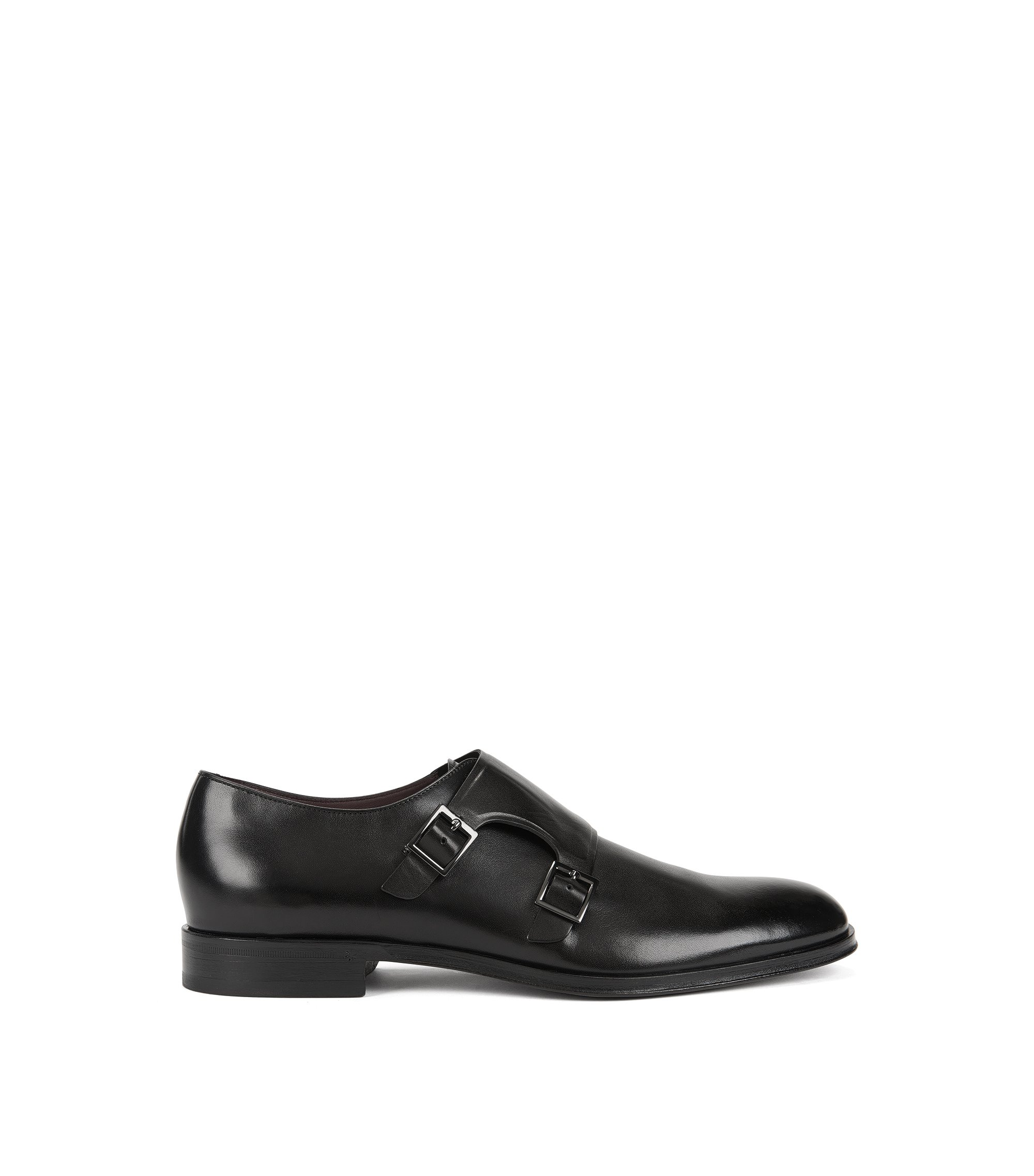 Double-monk shoes in grained leather, Black