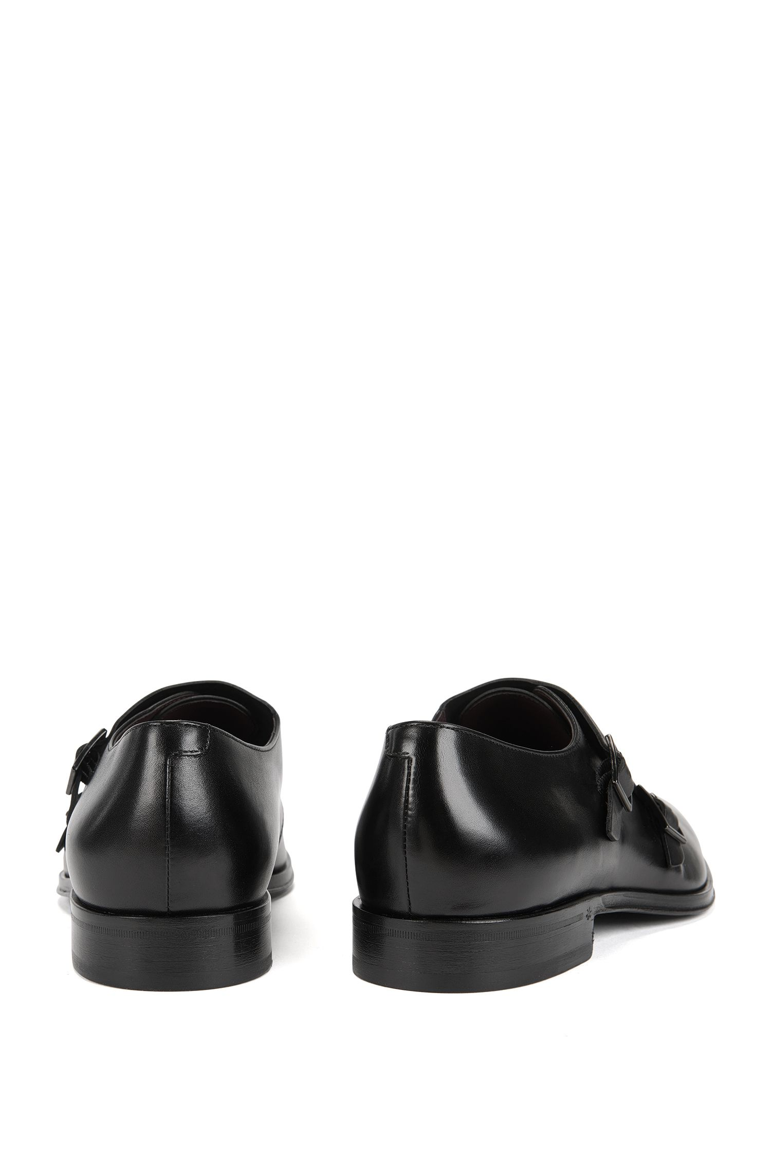 Double-monk shoes in grained leather