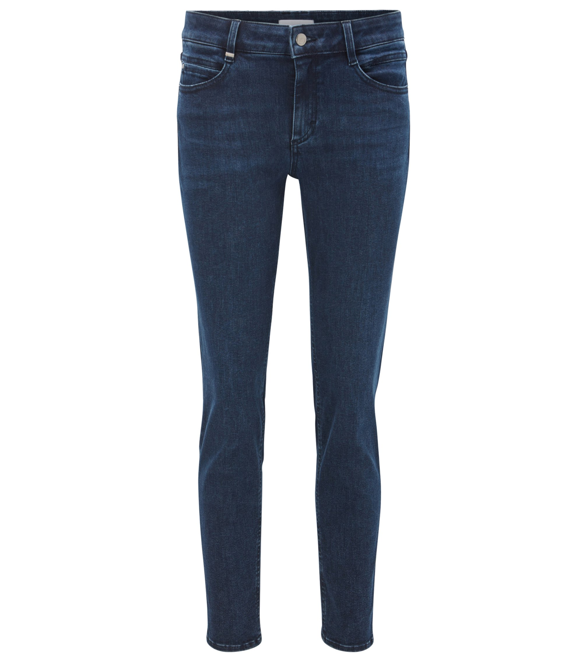 Jean Regular Fit en denim stretch structuré, Bleu foncé