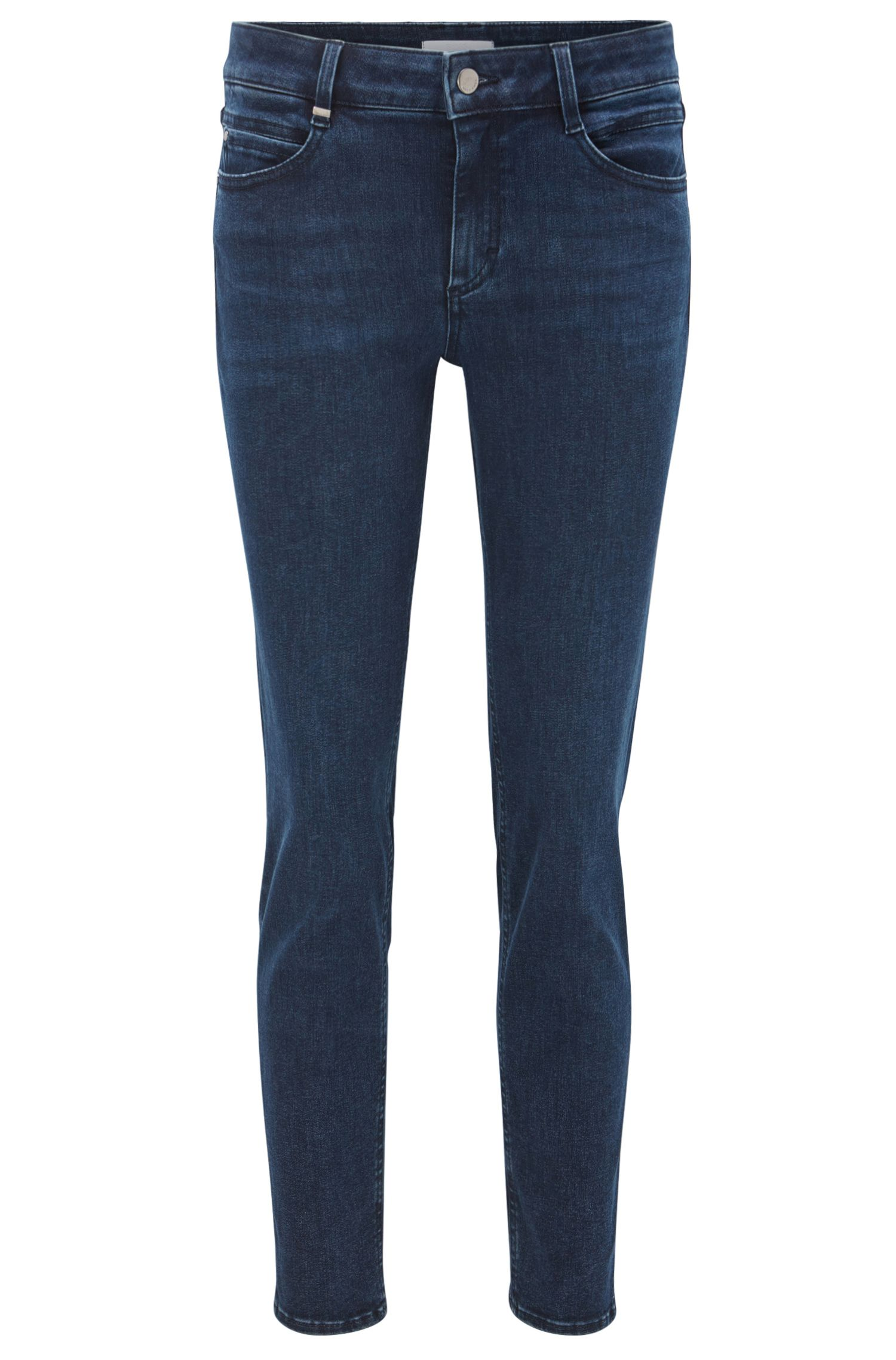 Jeans regular fit in denim elasticizzato lavorato
