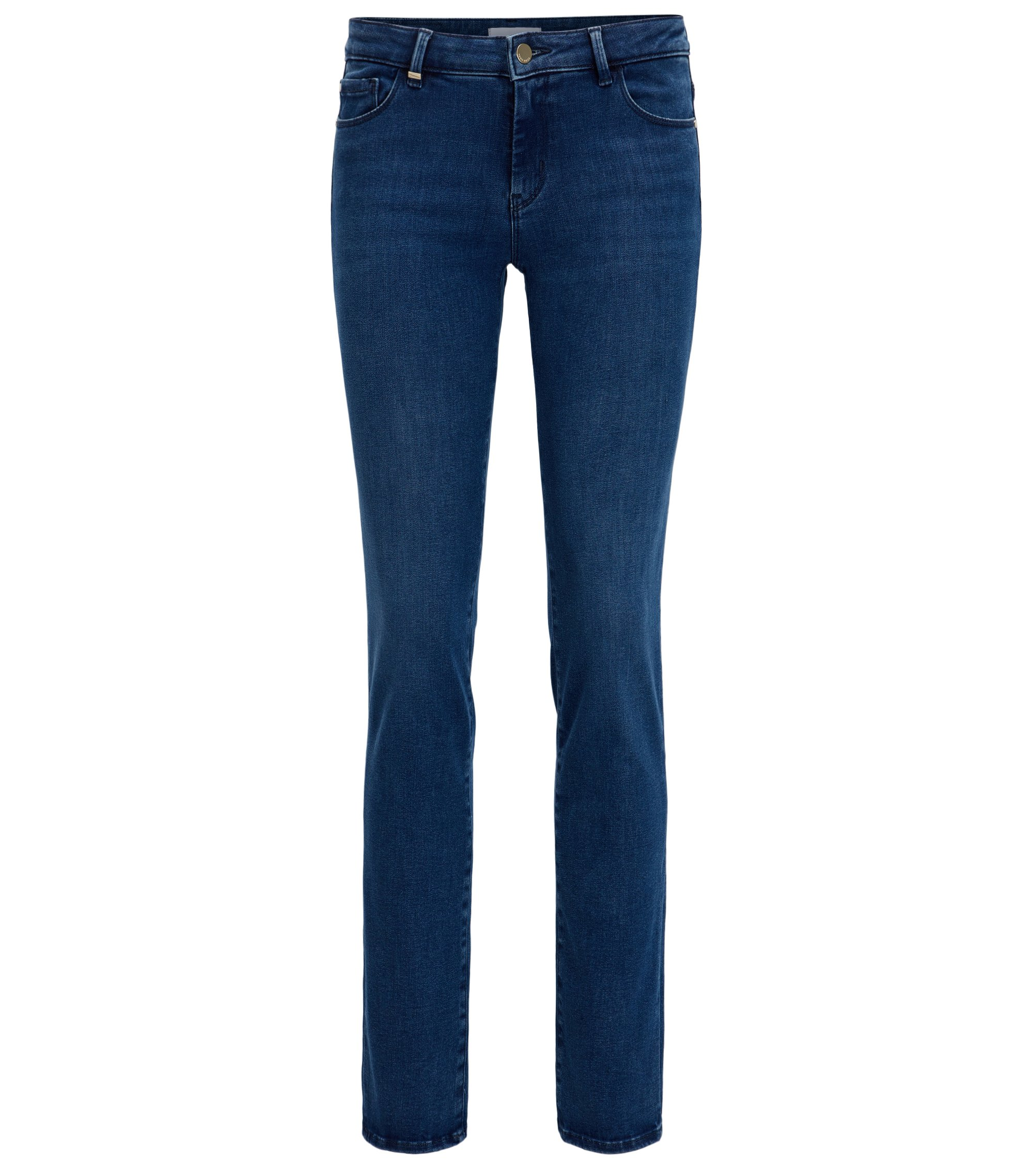 Jean Regular Fit en denim super stretch bleu clair, Bleu foncé
