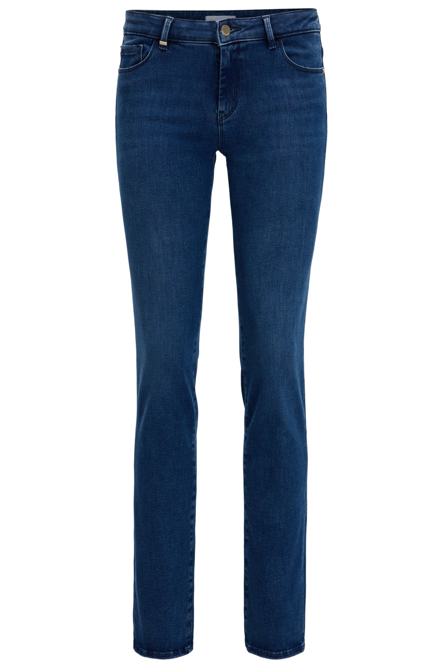 Regular-fit jeans van felblauwe super-stretchdenim