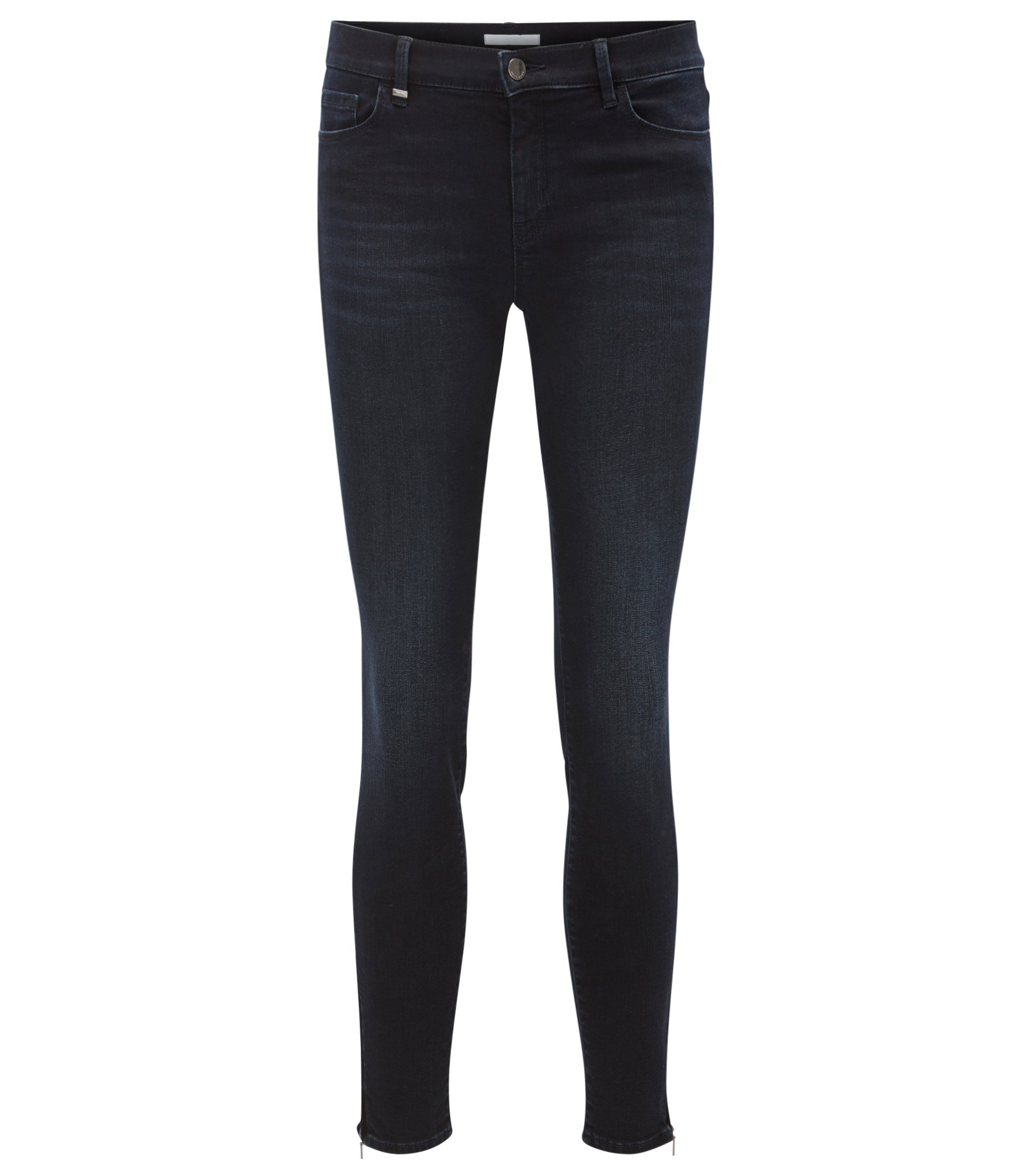 Super-stretch zip-hem jeans in a slim fit, Dark Blue