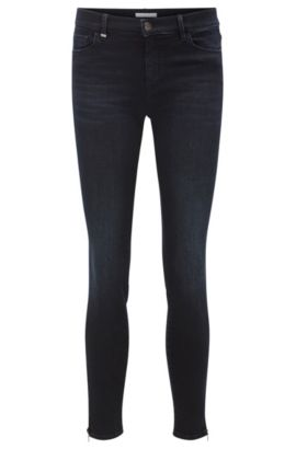 Slim-fit jeans van super-stretchmateriaal met ritszomen, Donkerblauw