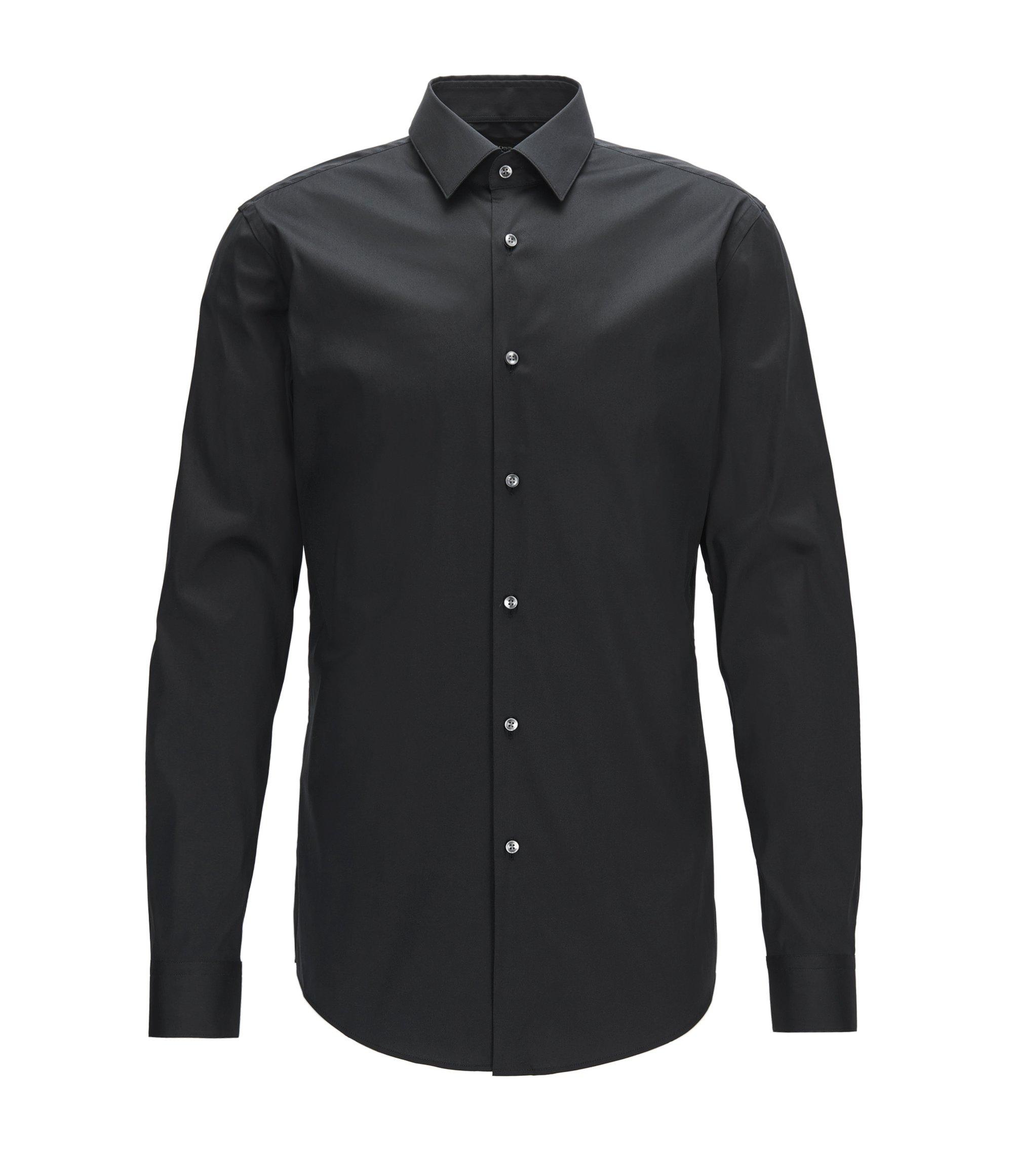 Extra-slim-fit shirt in stretch cotton-blend poplin, Black