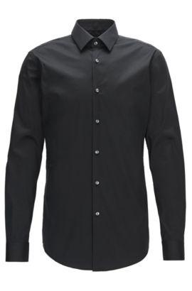 Extra Slim-Fit Hemd aus elastischem Baumwoll-Mix, Schwarz