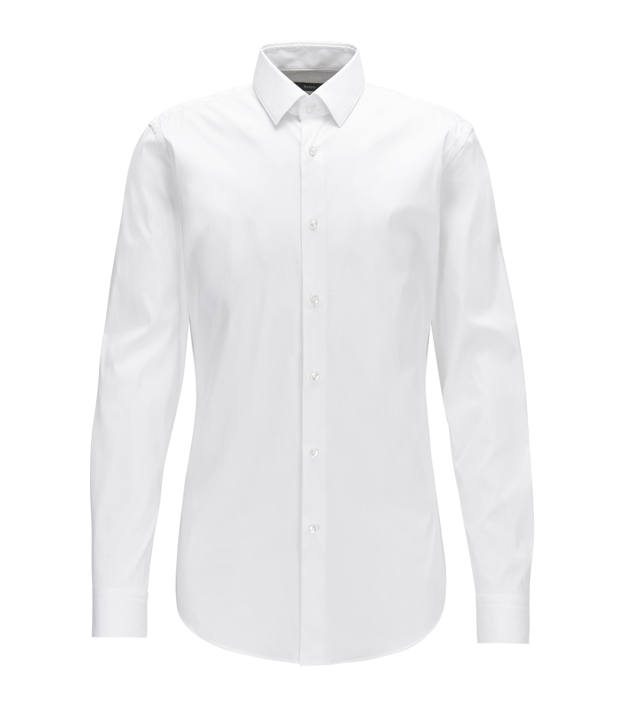 Extra-slim-fit shirt in stretch cotton-blend poplin, White