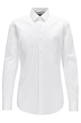 Chemise Extra Slim Fit en popeline stretch de coton mélangé, Blanc