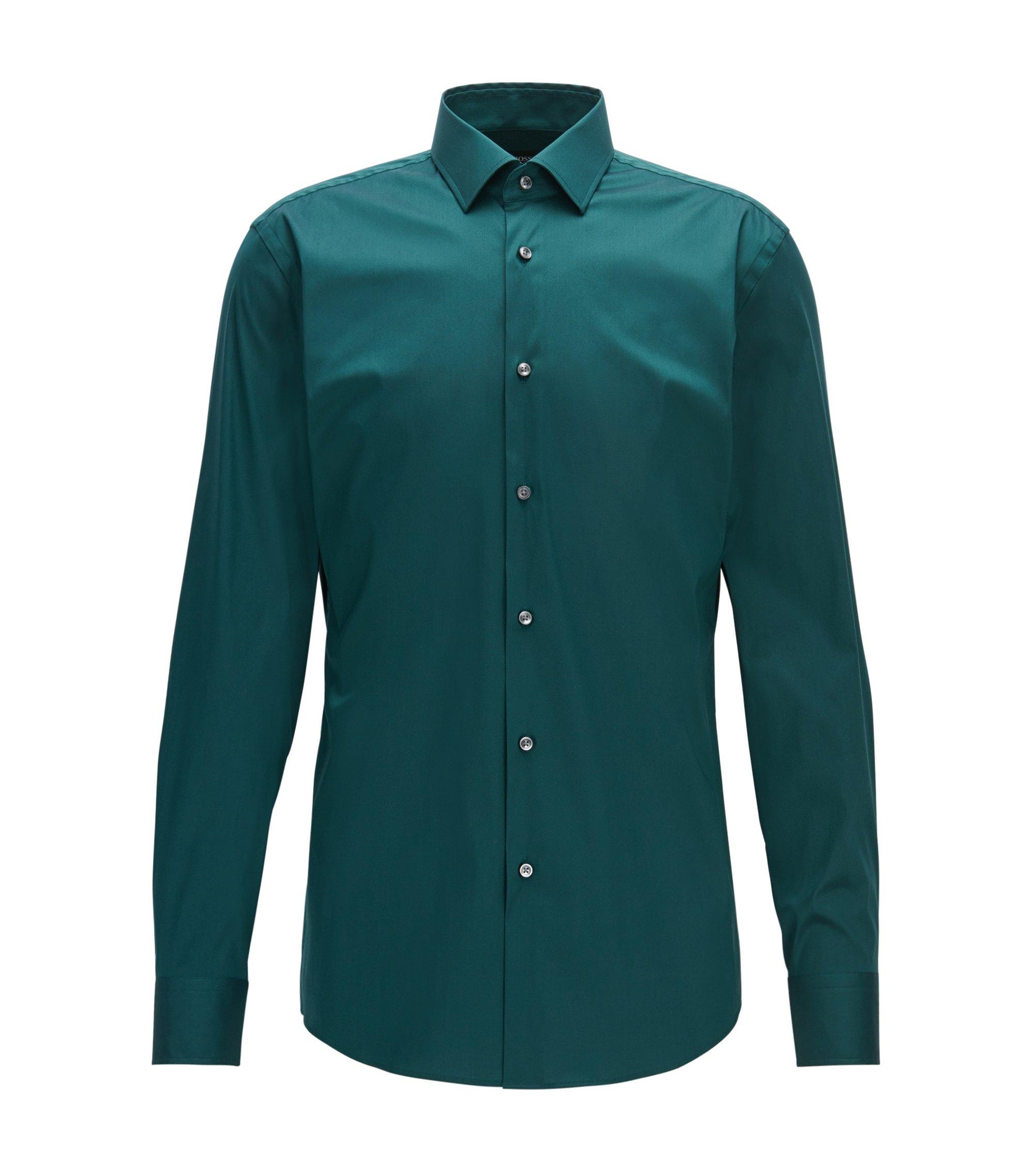 Slim-fit cotton-blend poplin shirt, Green