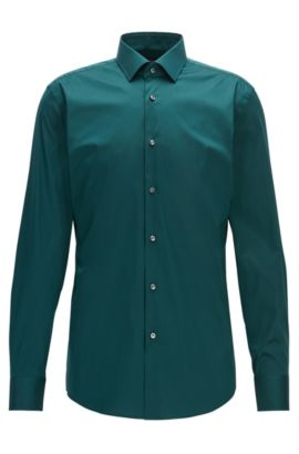 Slim-fit cotton-blend poplin shirt, Green