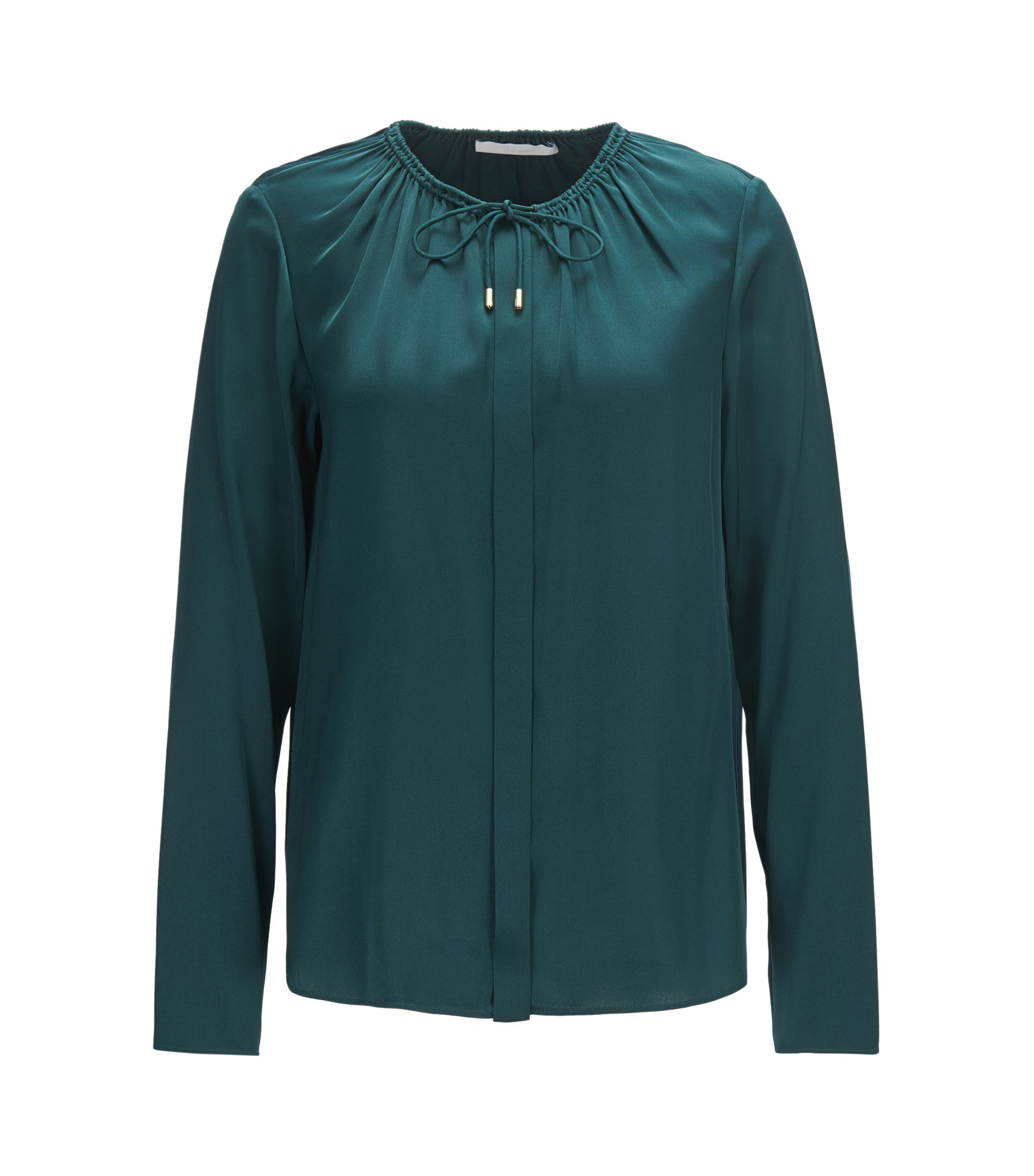 Regular-fit blouse in stretch silk with gathered neckline, Dark Green
