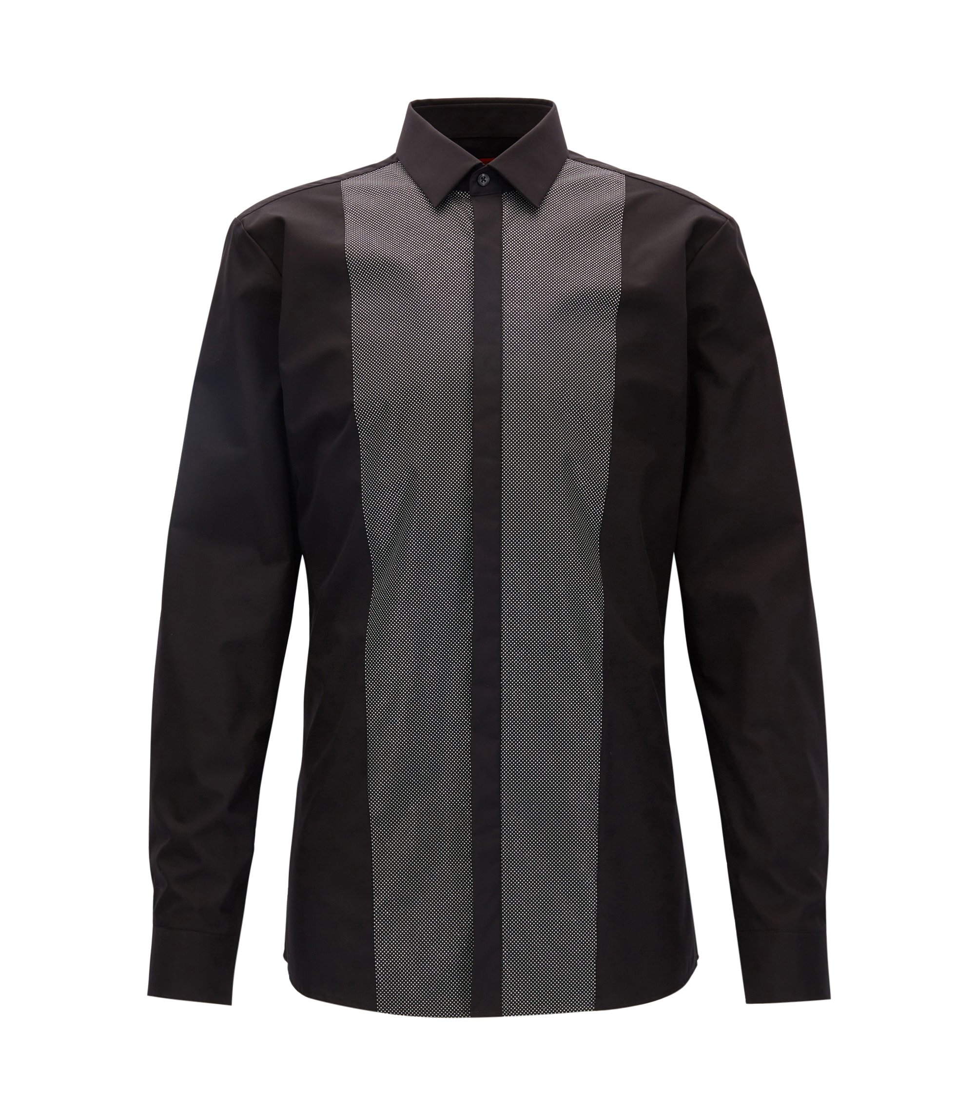 Extra-slim-fit cotton evening shirt with patterned front panel, Black