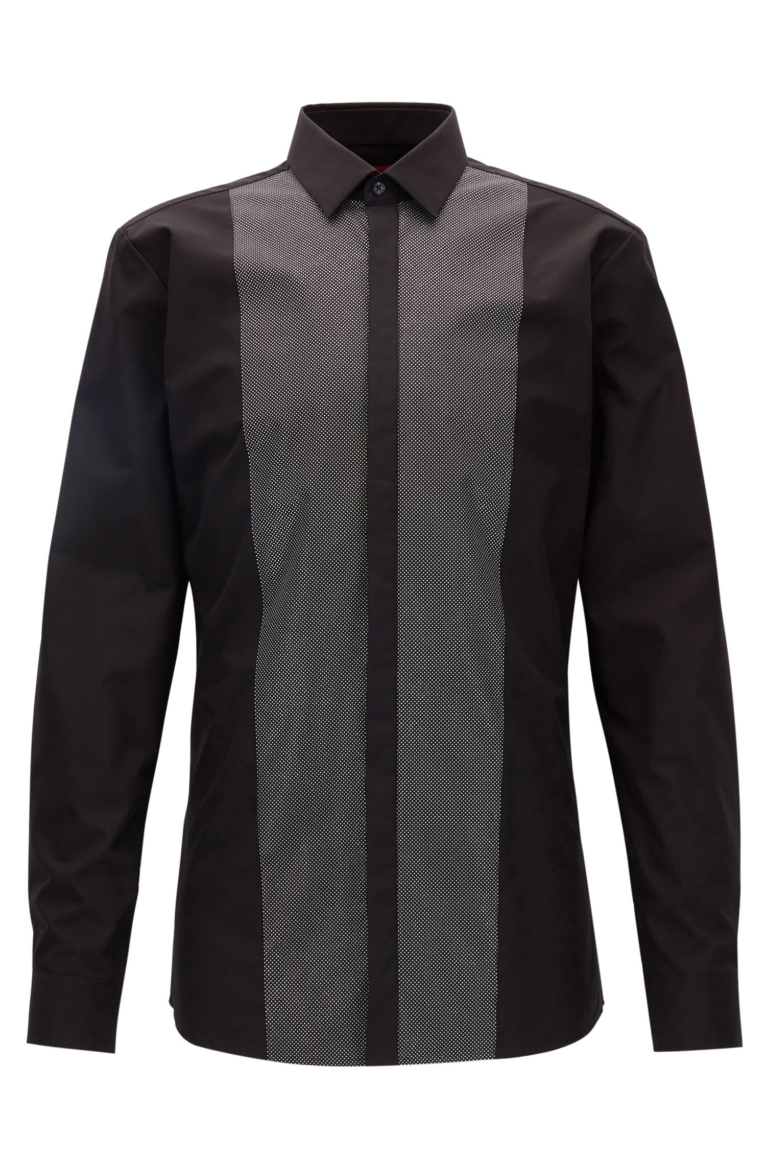 Extra-slim-fit cotton evening shirt with patterned front panel