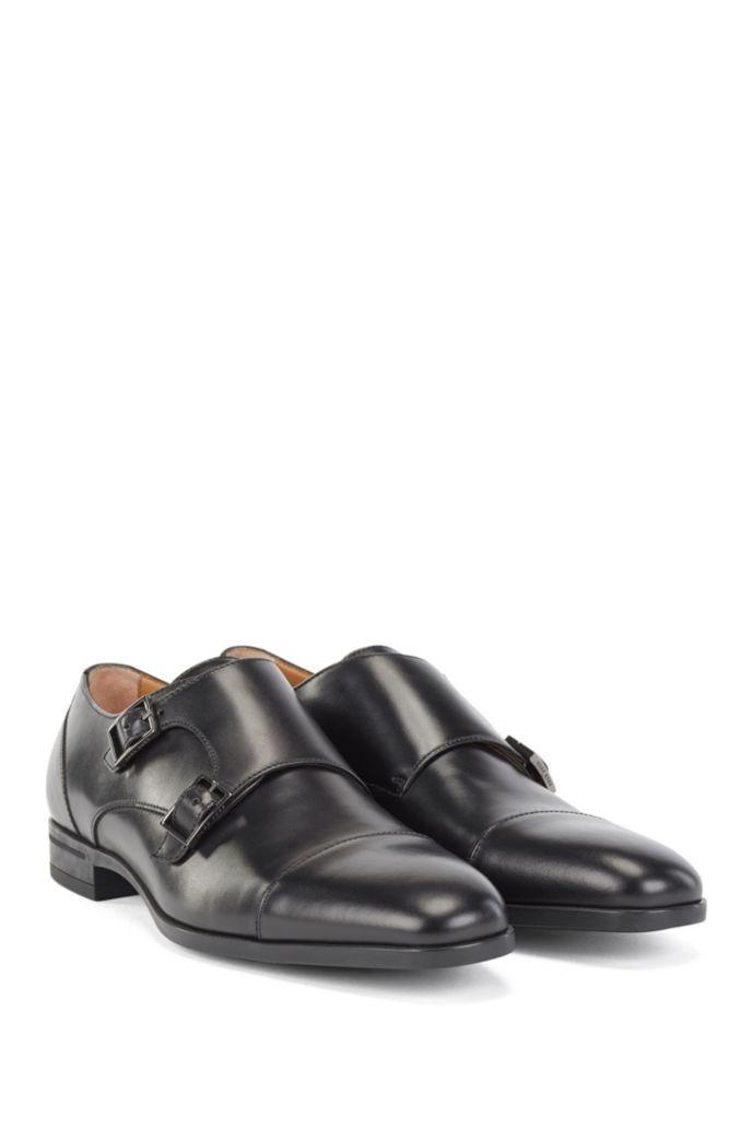 Zapatos de doble hebilla en piel de curtido vegetal