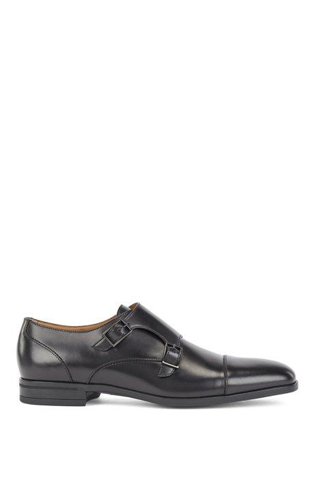 Chaussures double boucle en cuir au tannage végétal, Noir