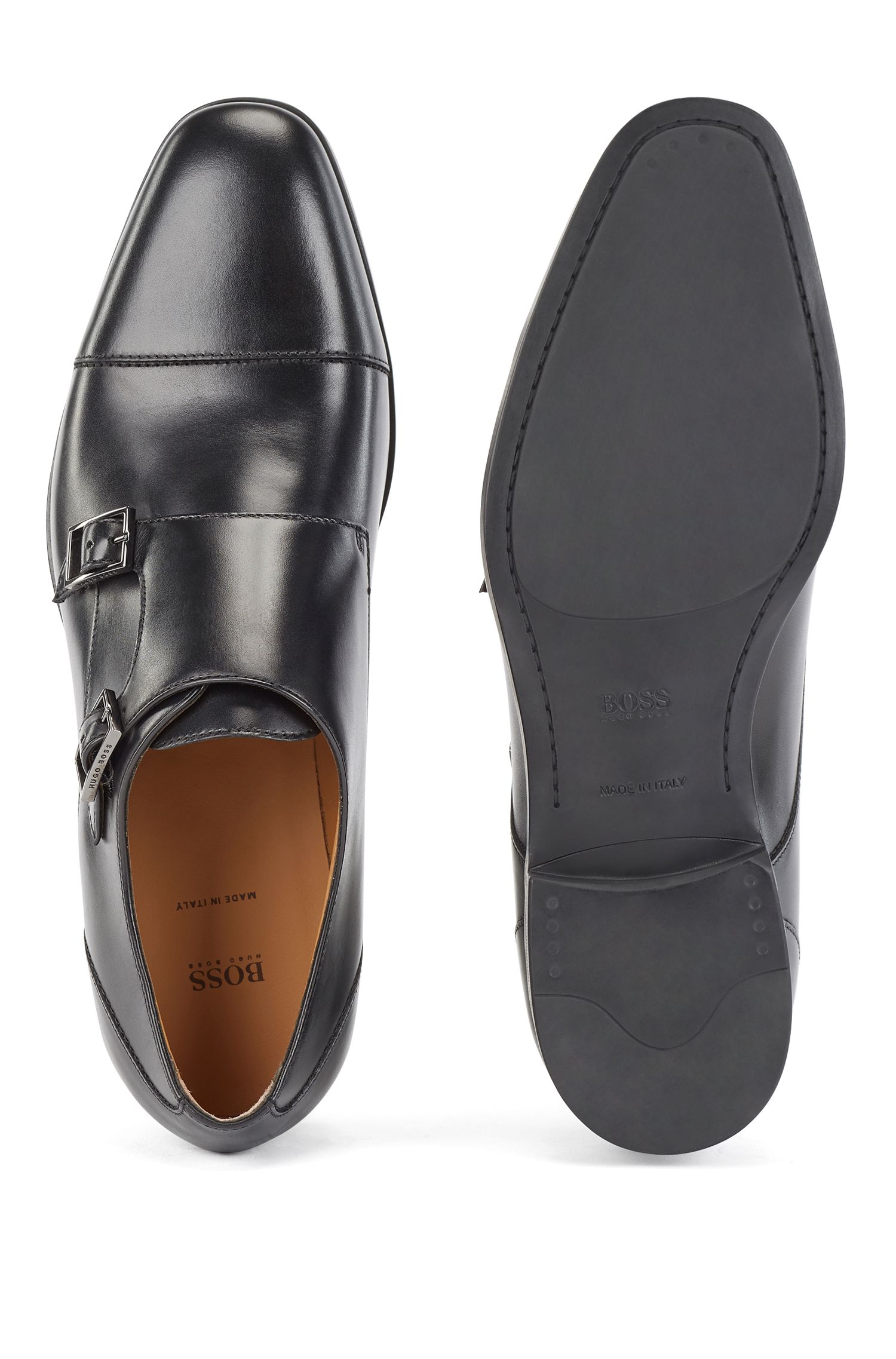 Double-monk shoes in vegetable-tanned leather, Black