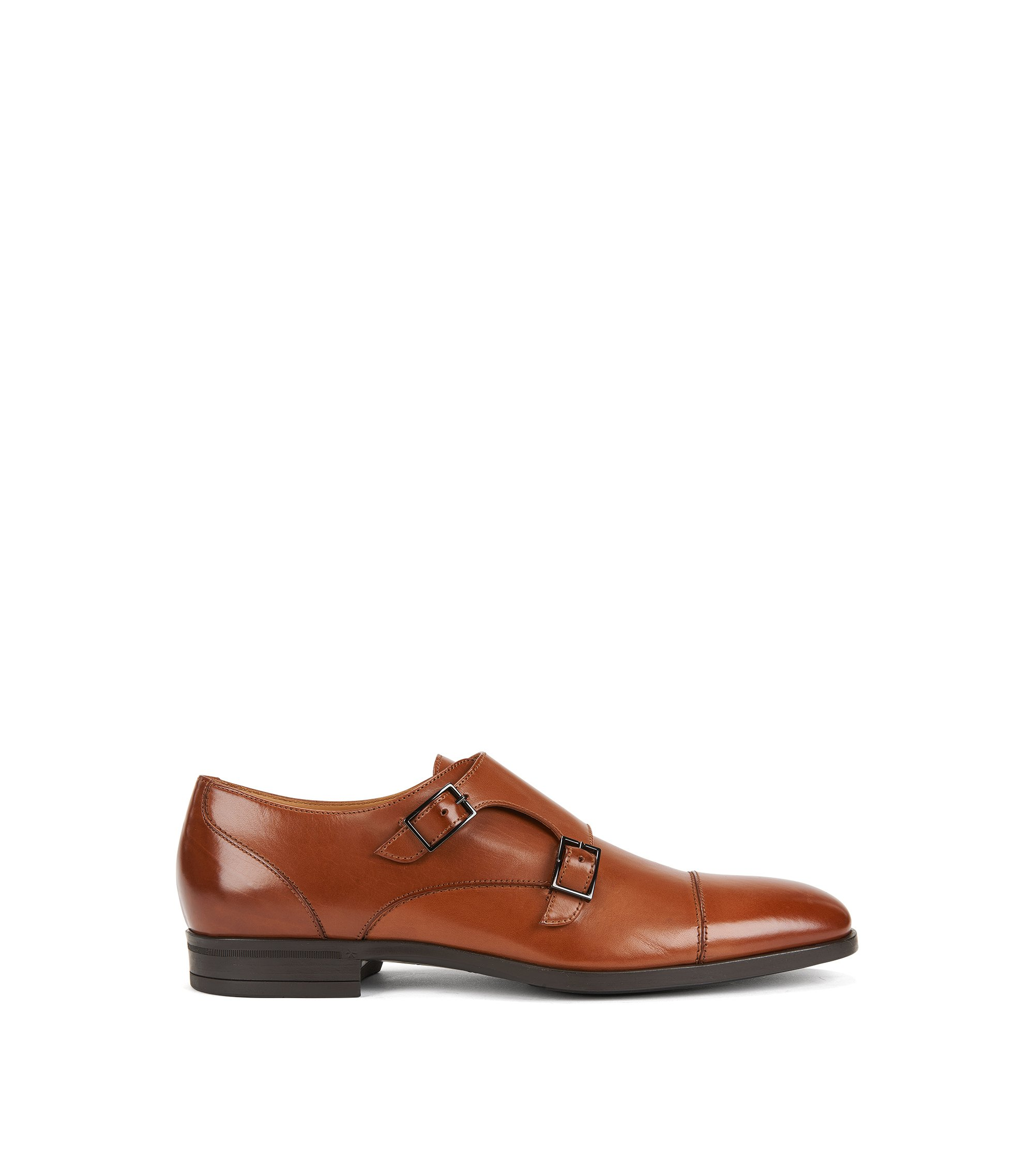 Double-monk shoes in vegetable-tanned leather, Brown