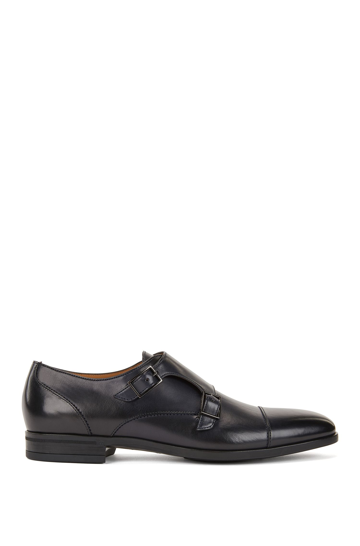 Double-monk shoes in vegetable-tanned leather, Dark Blue