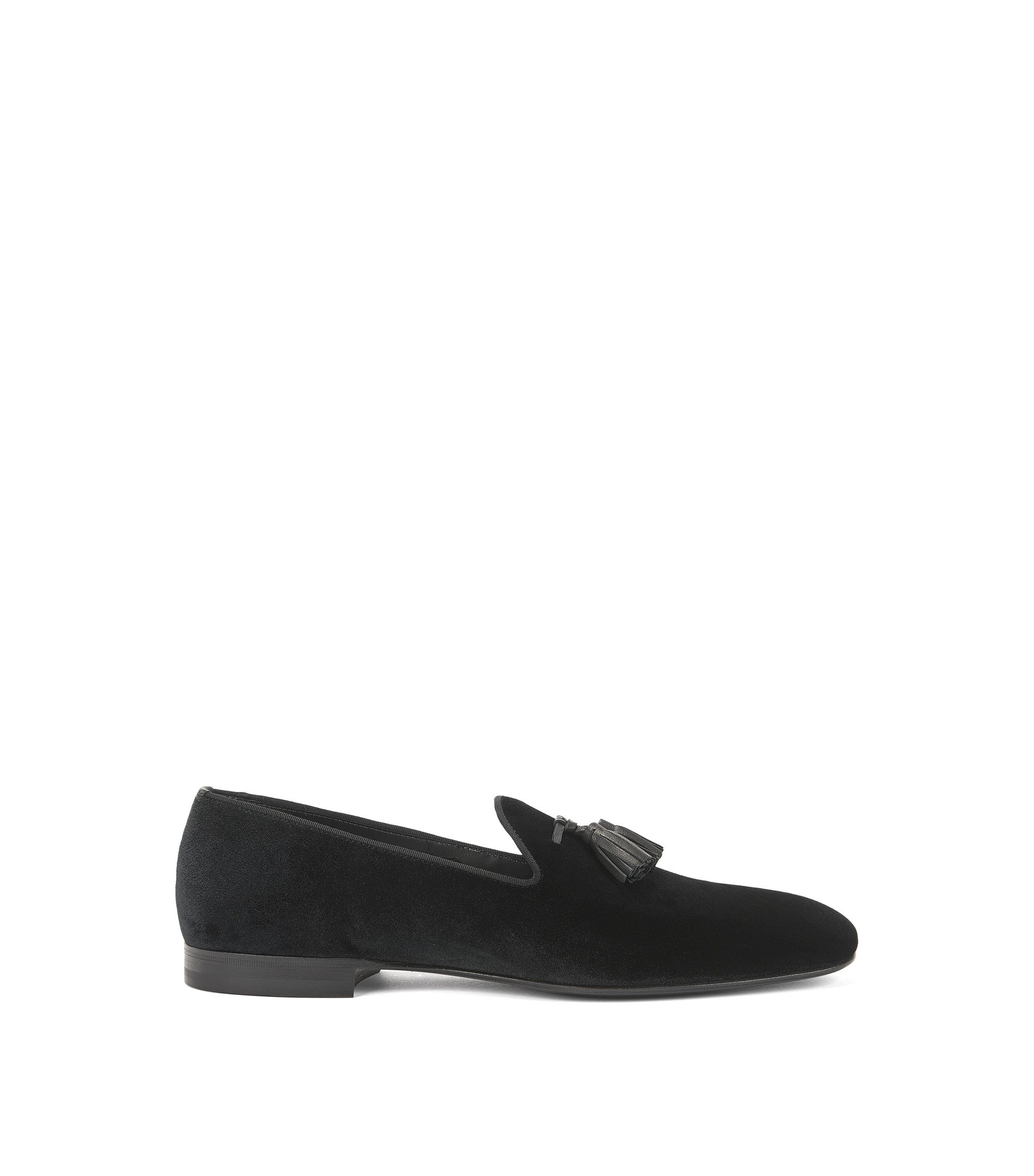 Slip-on loafers in Italian velvet, Black