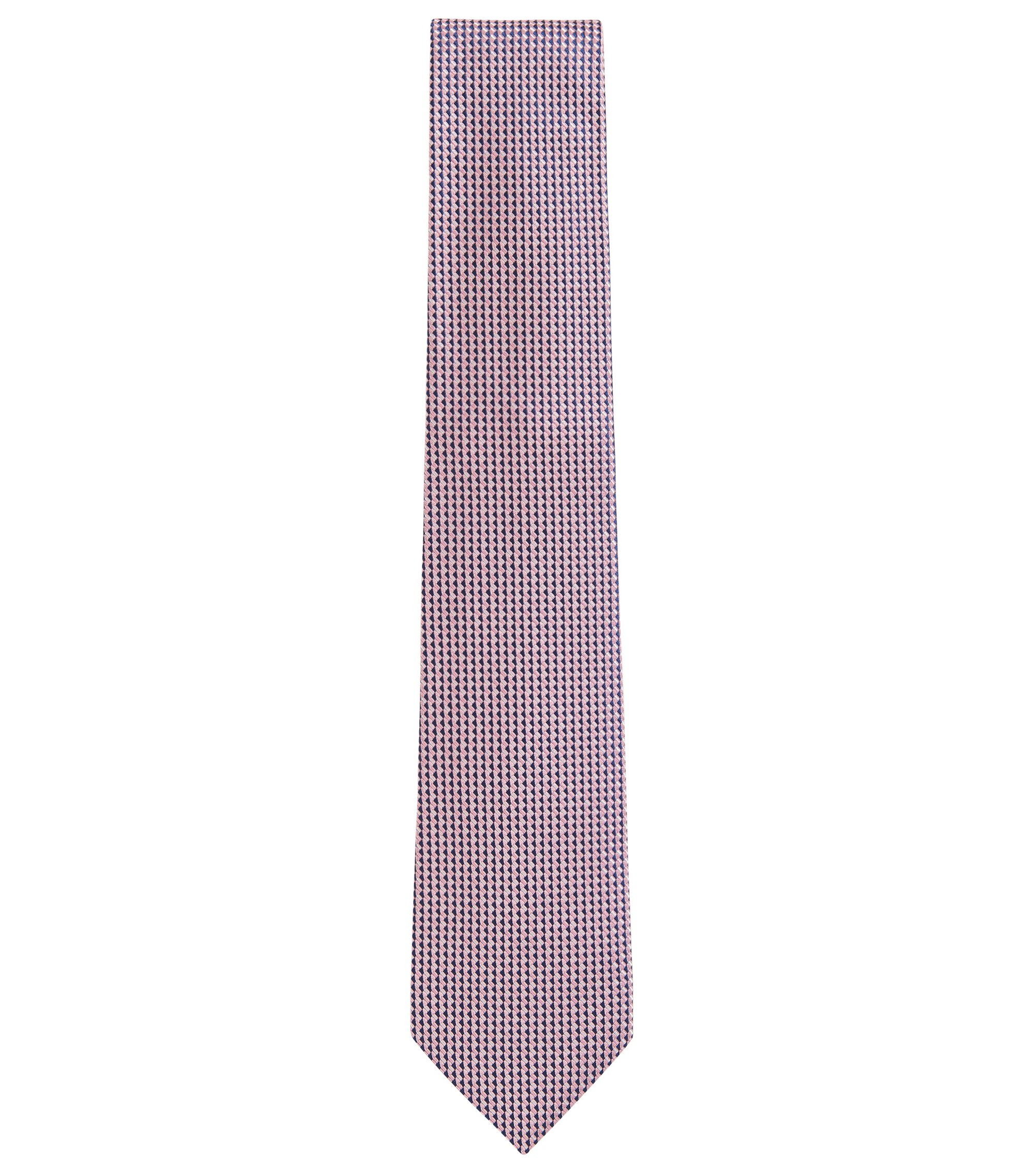 Hand-made tie in patterned jacquard silk, light pink