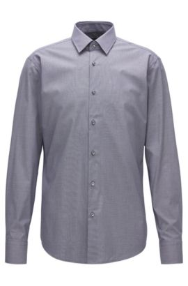 Regular-fit easy-iron cotton shirt with two-tone micro check, Dark Blue