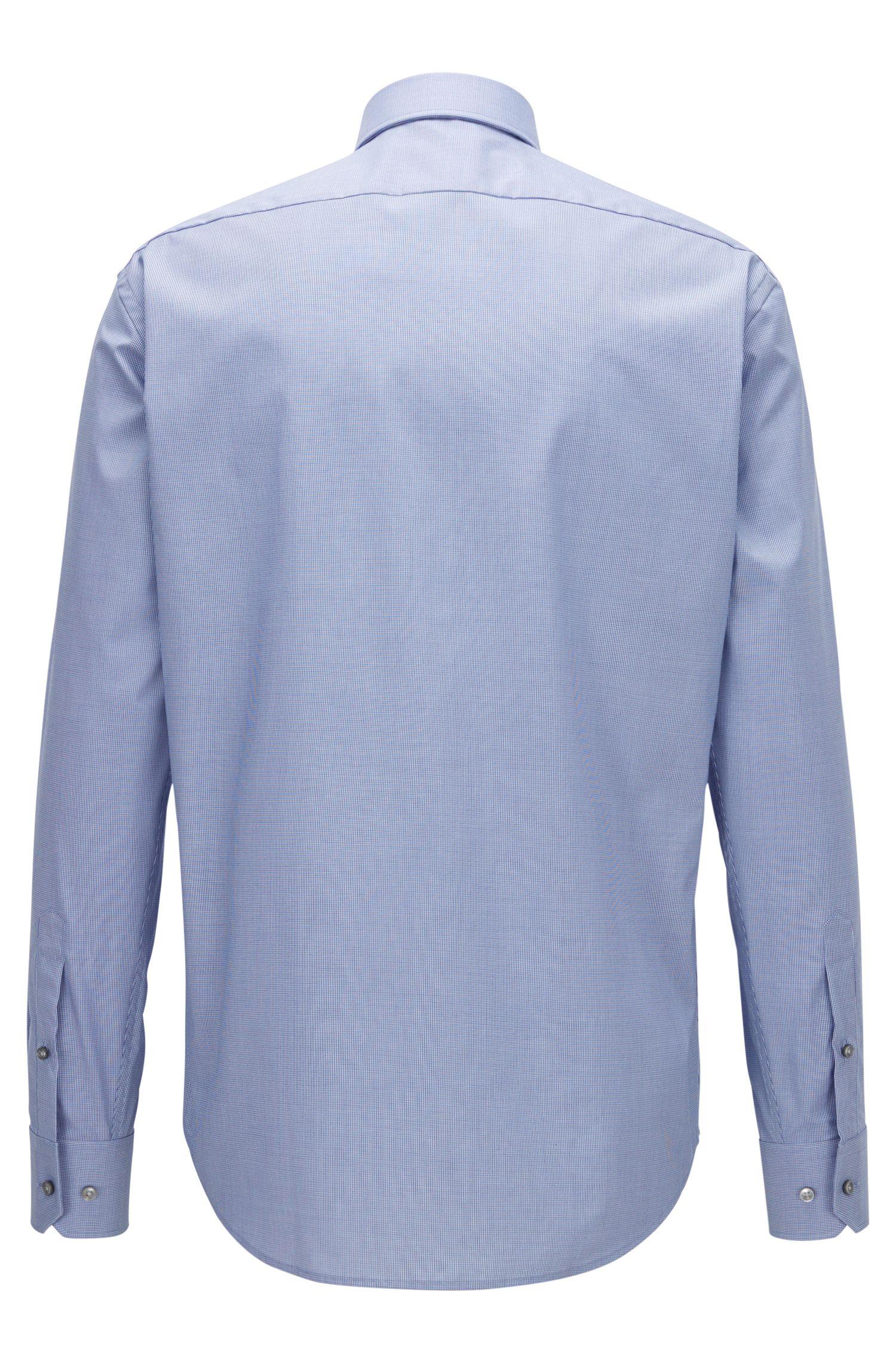 Chemise Regular Fit en coton facile à repasser à micromotif bicolore
