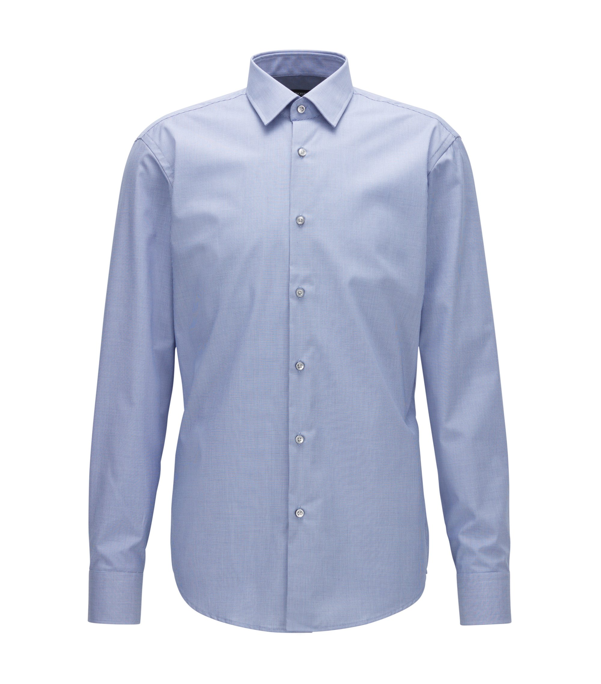 Camicia regular fit in cotone facile da stirare con motivo a quadretti bicolore, Celeste