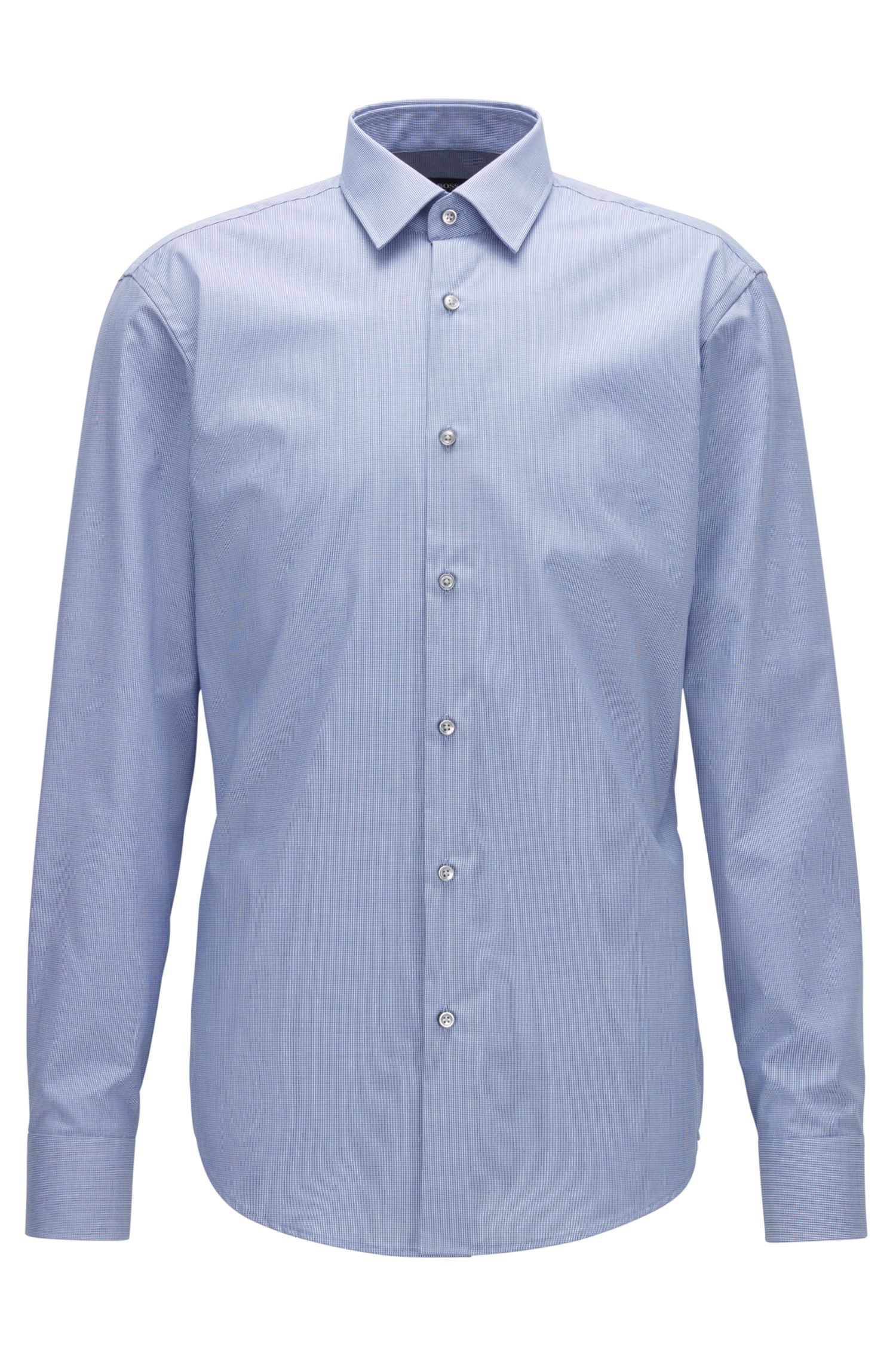 Regular-fit easy-iron cotton shirt with two-tone micro check