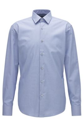 Regular-fit easy-iron cotton shirt with two-tone micro check, Light Blue