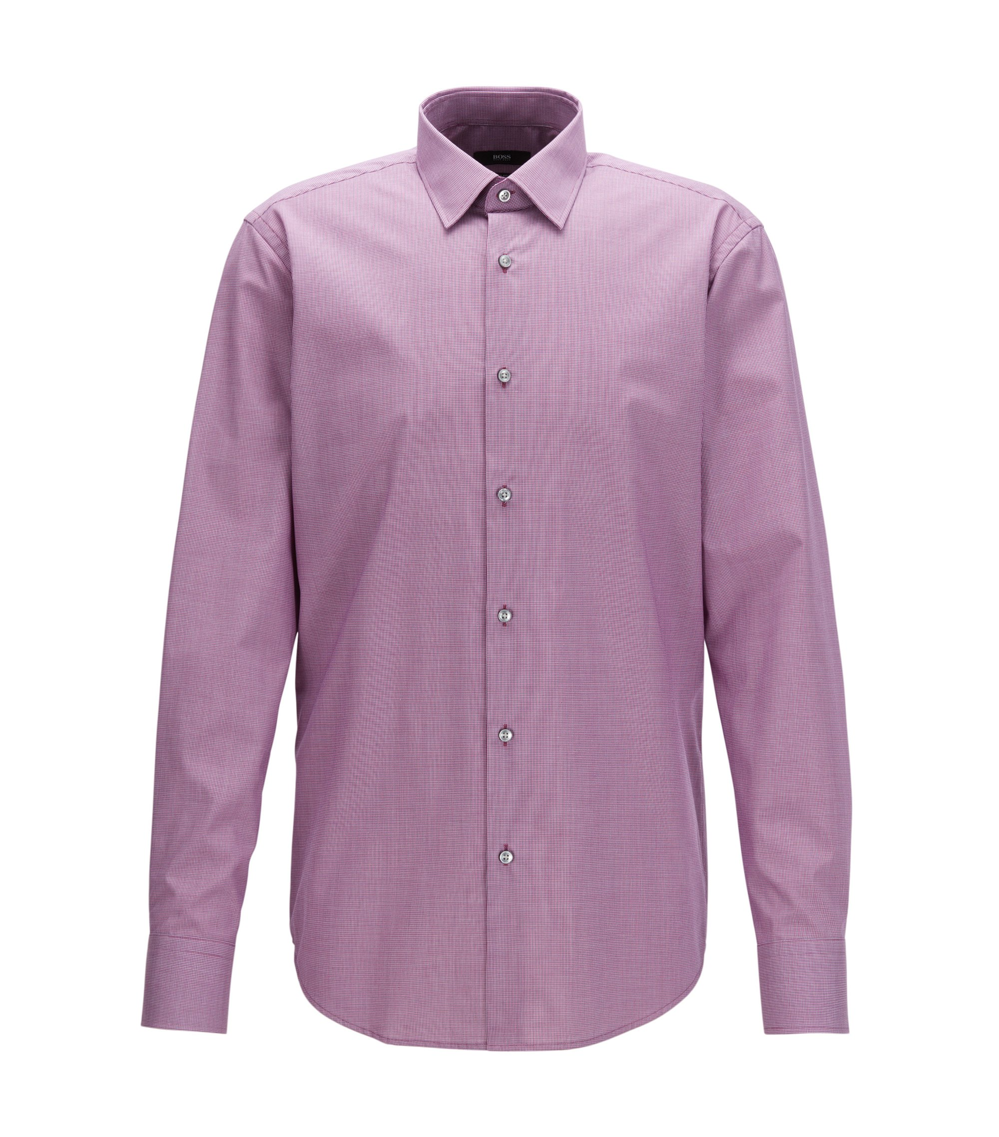 Camicia regular fit in cotone facile da stirare con motivo a quadretti bicolore, Rosa scuro
