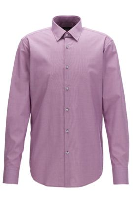 Chemise Regular Fit en coton facile à repasser à micromotif bicolore, Rose foncé