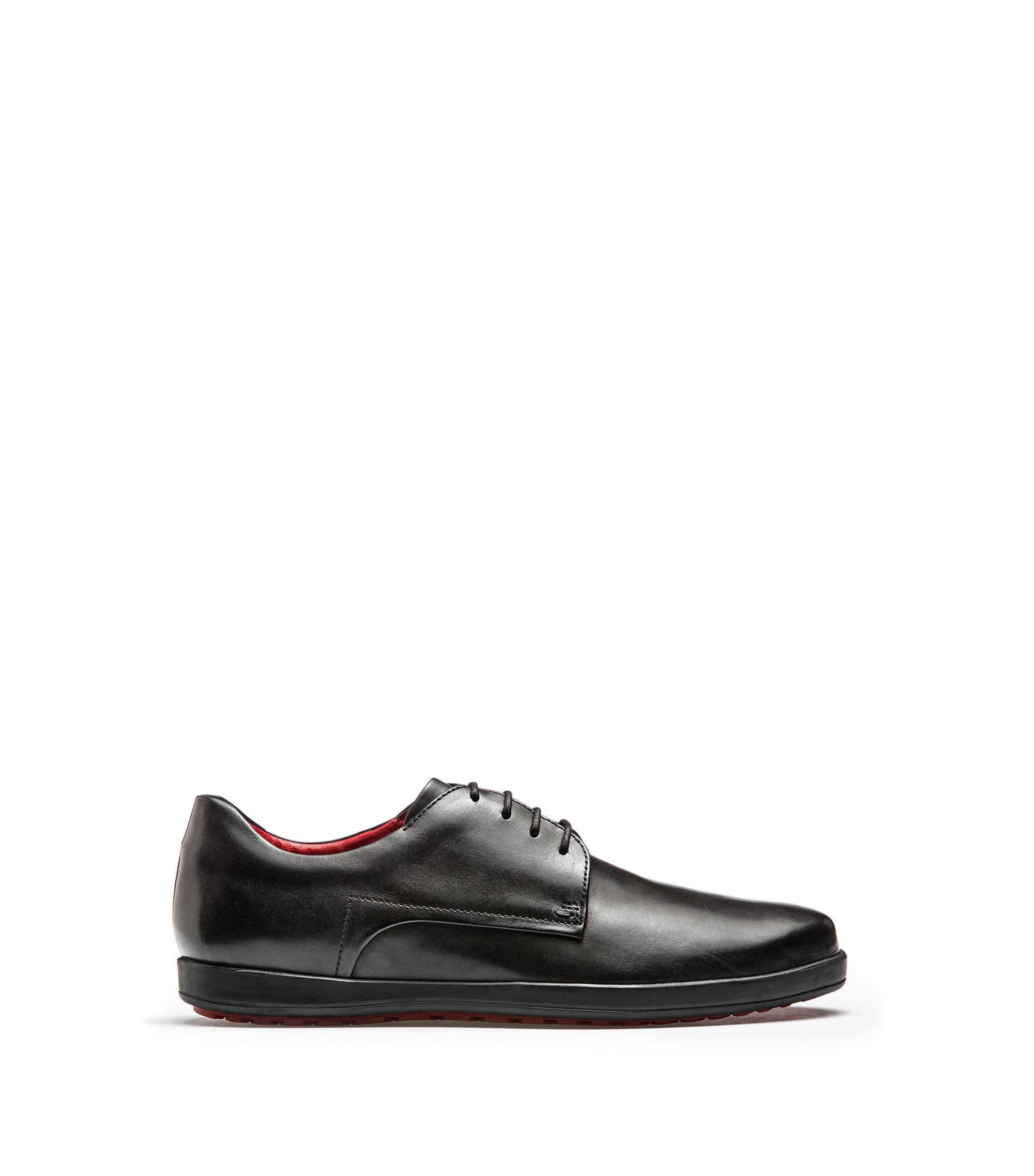Calf-leather Derby shoes with rubber sole, Nero