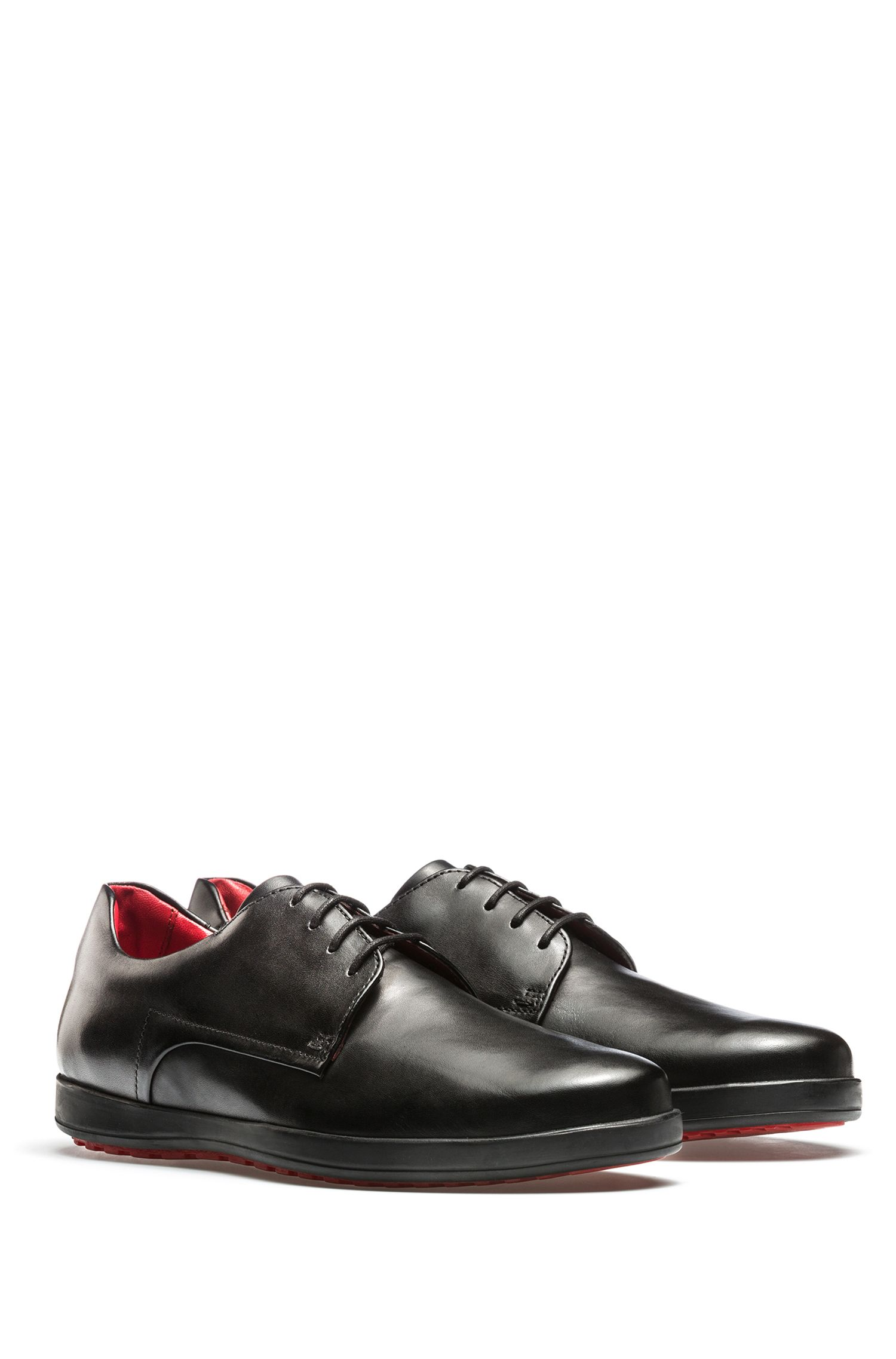 Calf-leather Derby shoes with rubber sole