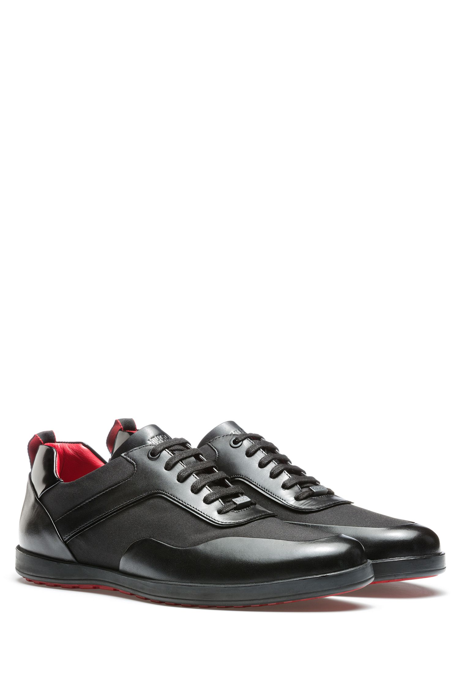 Lace-up trainers in soft leather