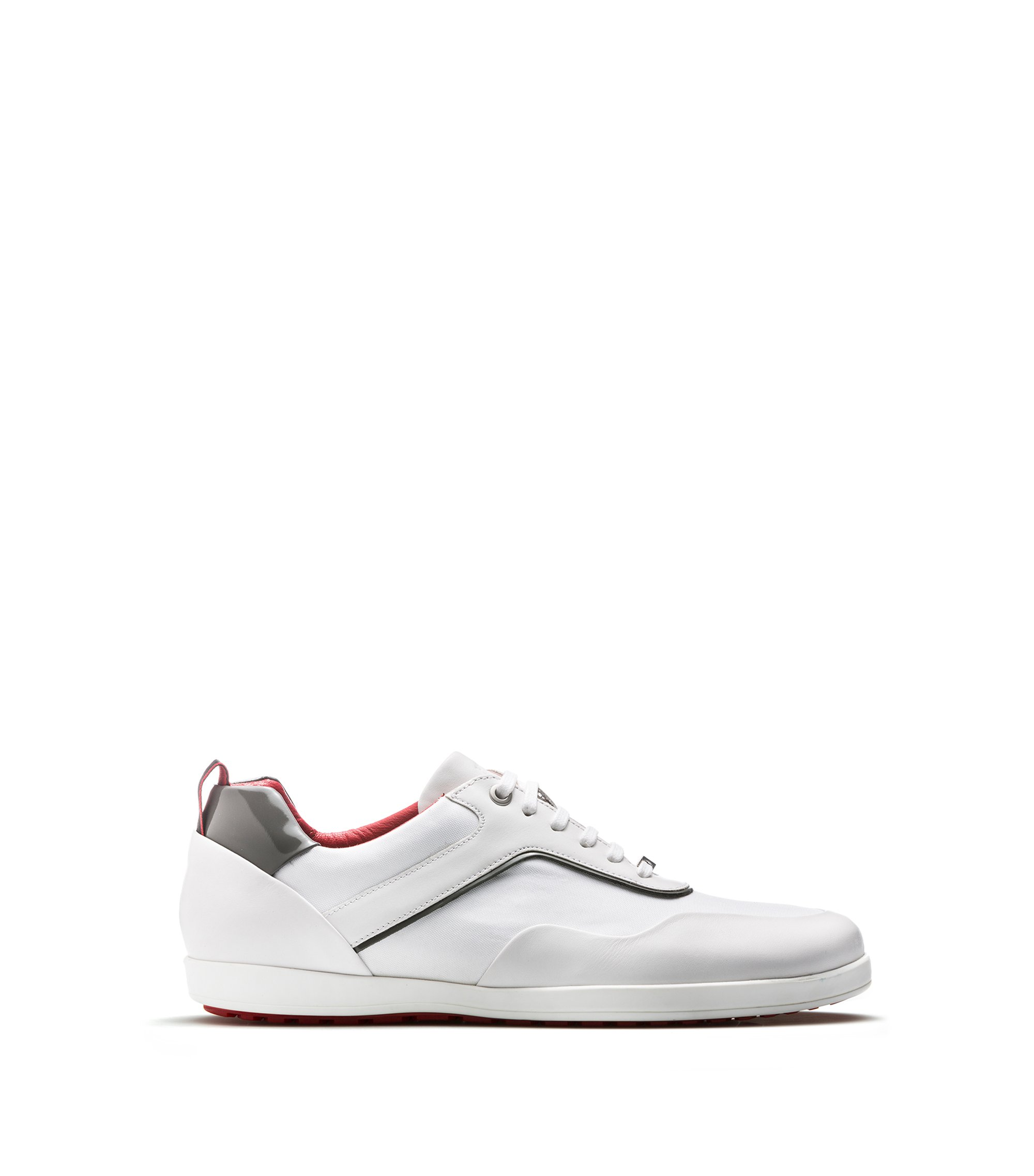 Lace-up trainers in soft leather, White