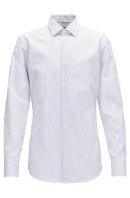 Camisa slim fit en algodón a rayas, Azul oscuro